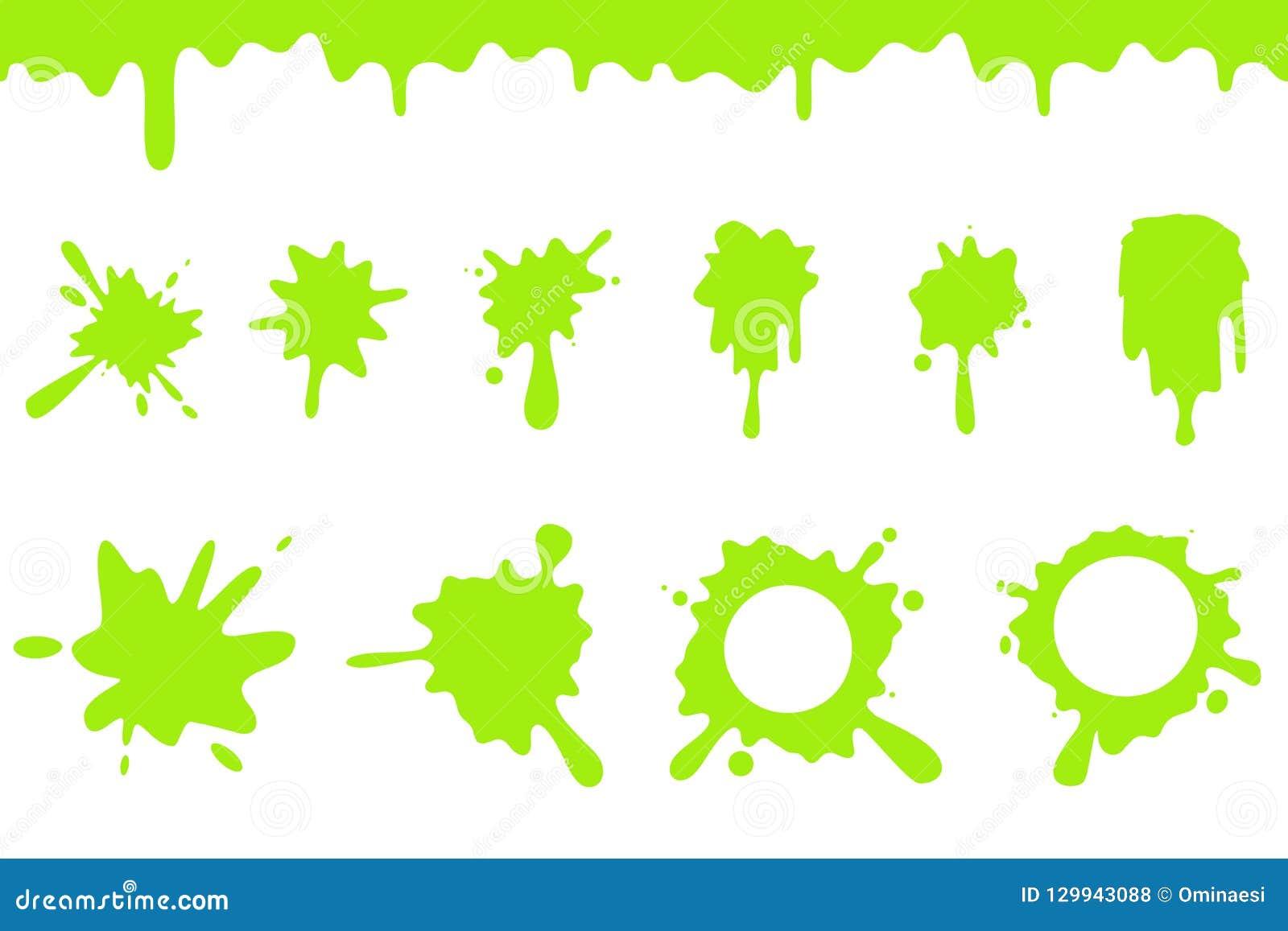 De plons van het morserij het groene slijm ploetert stromen die de naadloze vloeibare vectorillustratie van het beeldverhaalontwe