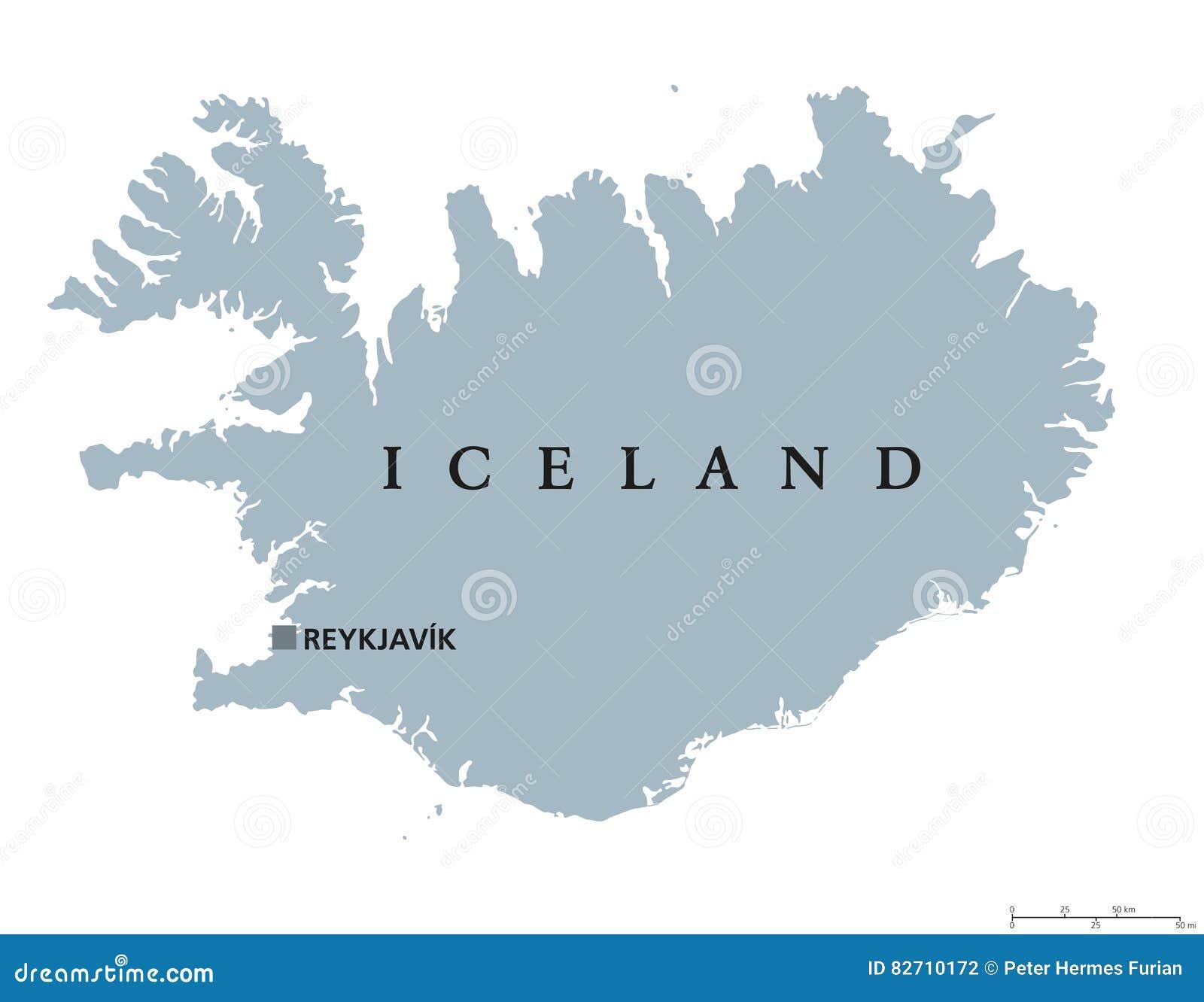 De Politieke Kaart Van Ijsland Vector Illustratie Illustratie