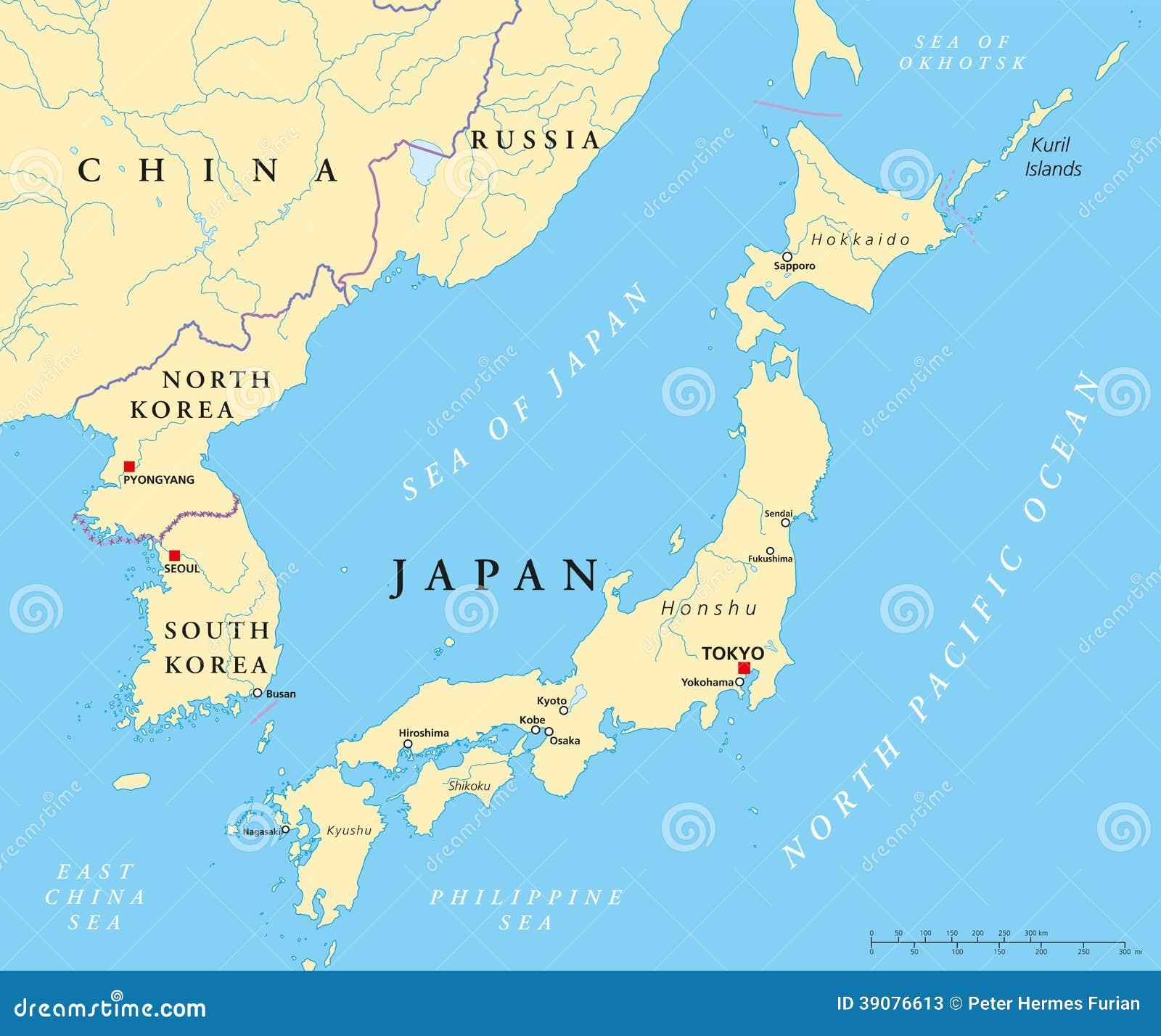 de-politieke-kaart-van-japan-van-noord-k