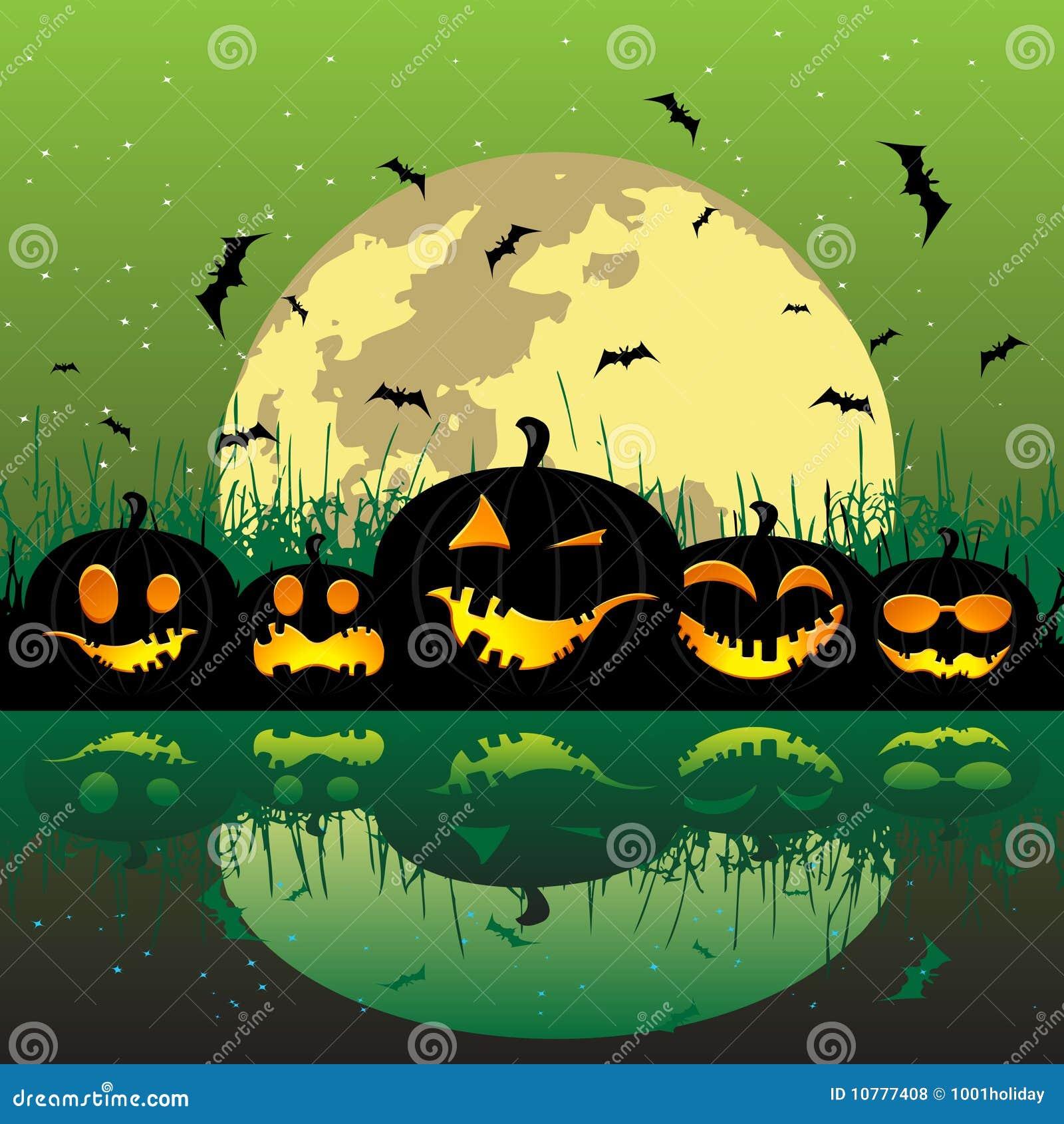 De pompoenen van Halloween onder de maan