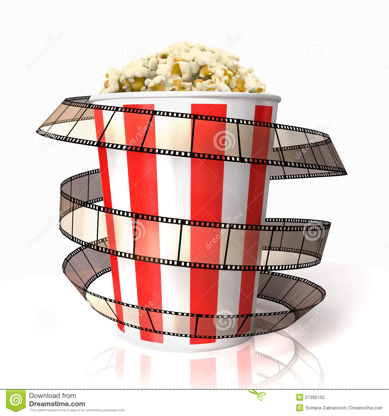 De popcorn wraped filmstrook