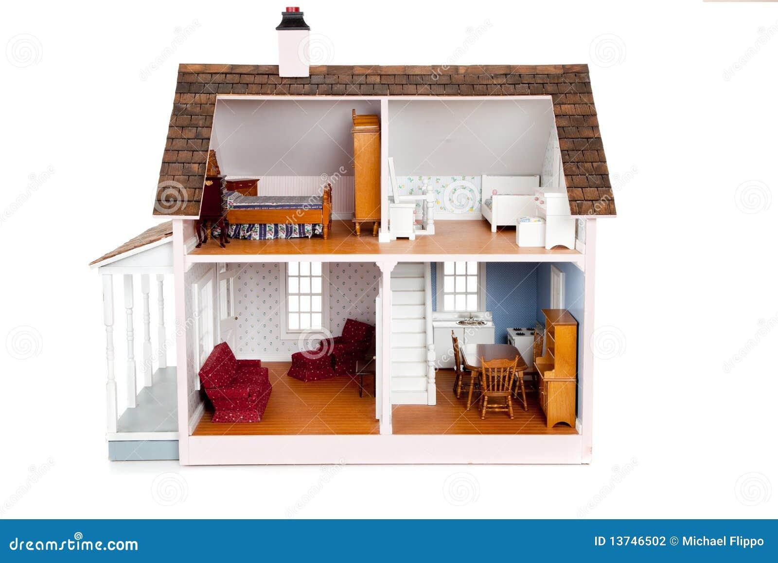 De poppenhuis van het kind met meubilair op wit stock fotografie afbeelding 13746502 - Trap meubilair kind ...