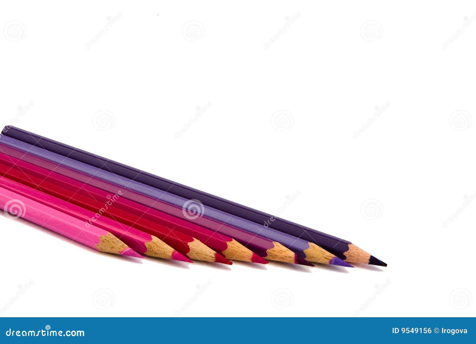 De Kleur Rood : De potloden van de kleur van rode schaduwen stock foto