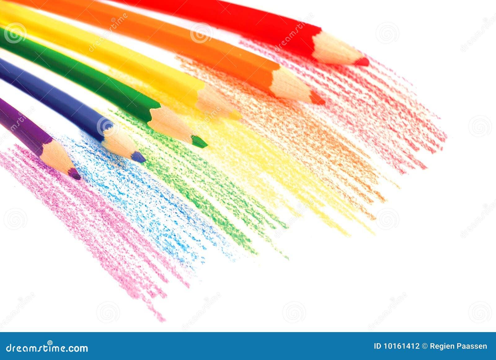 De potloden van de regenboog stock fotografie afbeelding 10161412 - Grafiek blauw grijze verf ...