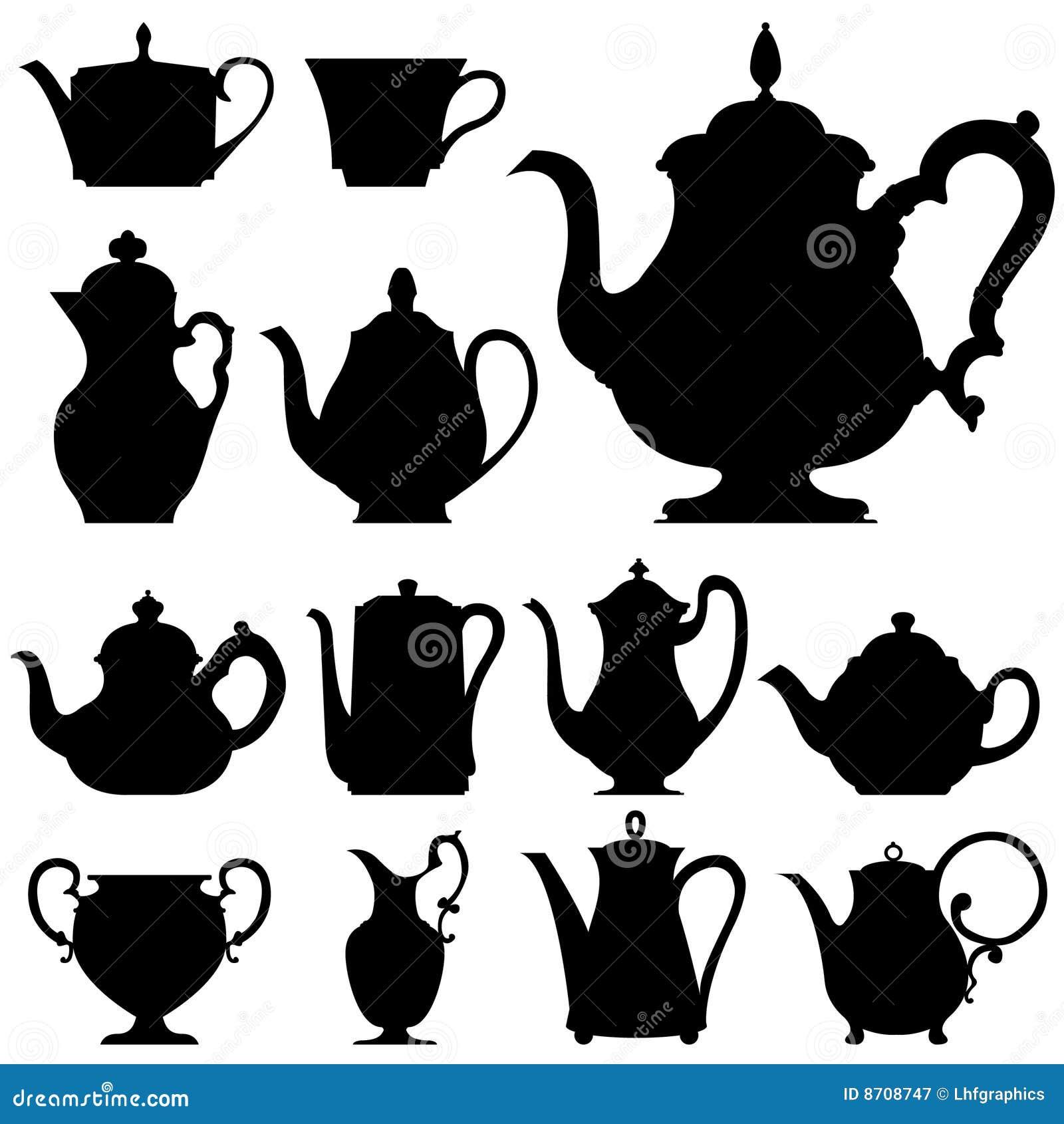 De potten van de thee en van de koffie in vectorsilhouet