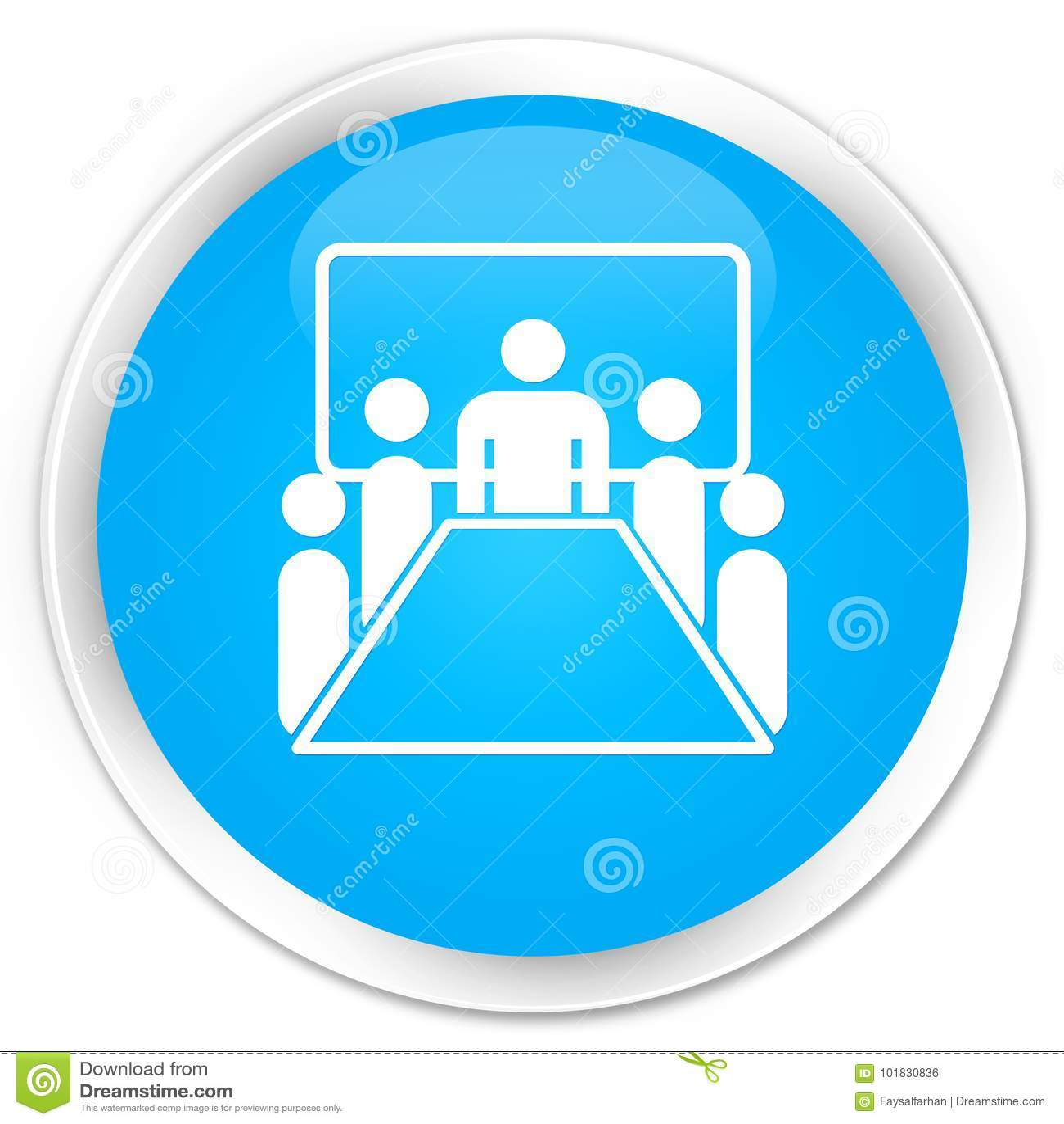 De premie cyaan blauwe ronde knoop van het vergaderzaalpictogram