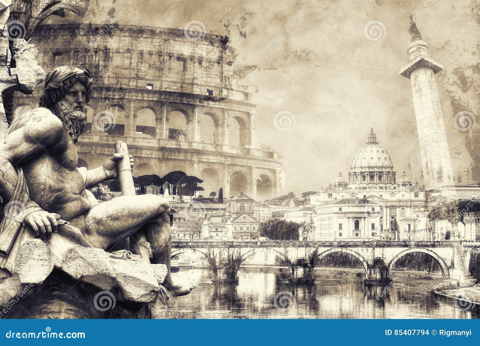 De prentbriefkaar van Rome in sepia