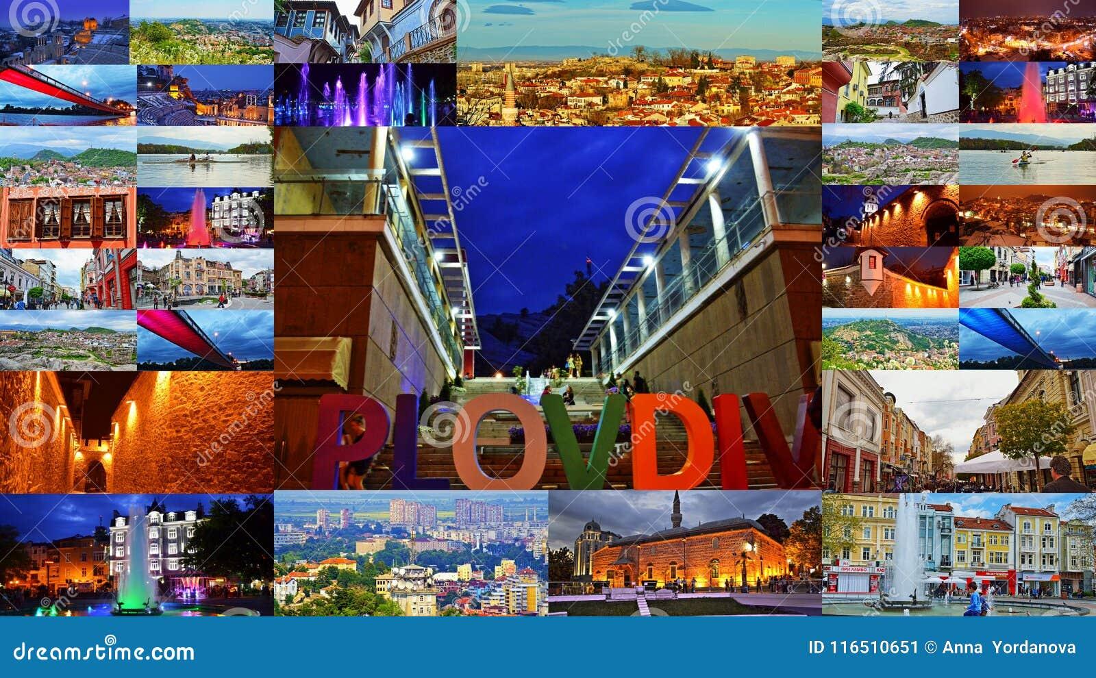 De prentbriefkaarcollage Bulgarije van de Plovdivstad