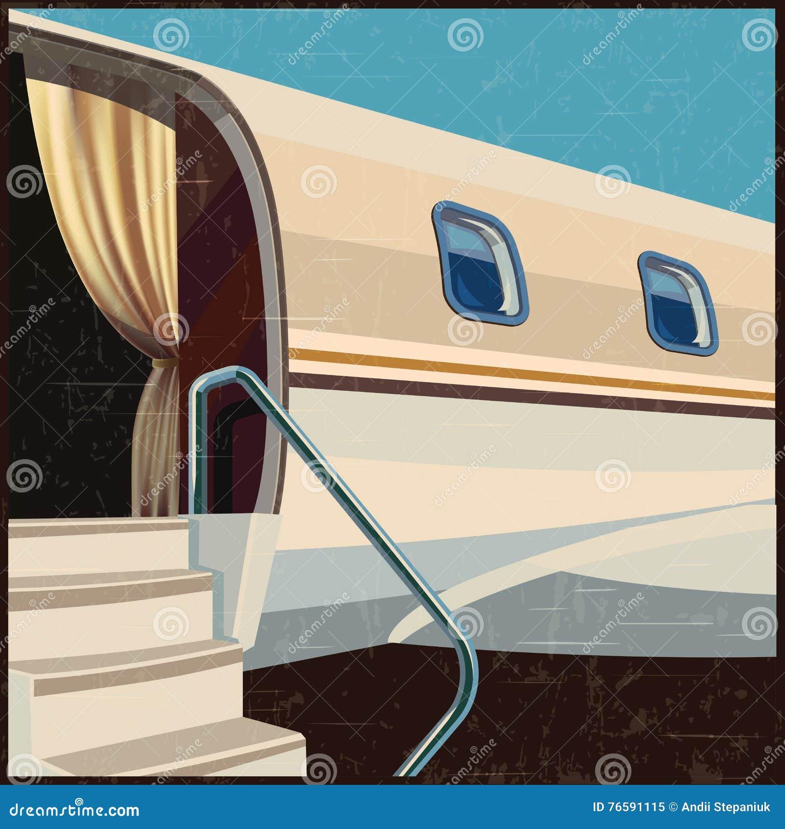 De privé retro affiche van de luchtvaartillustratie