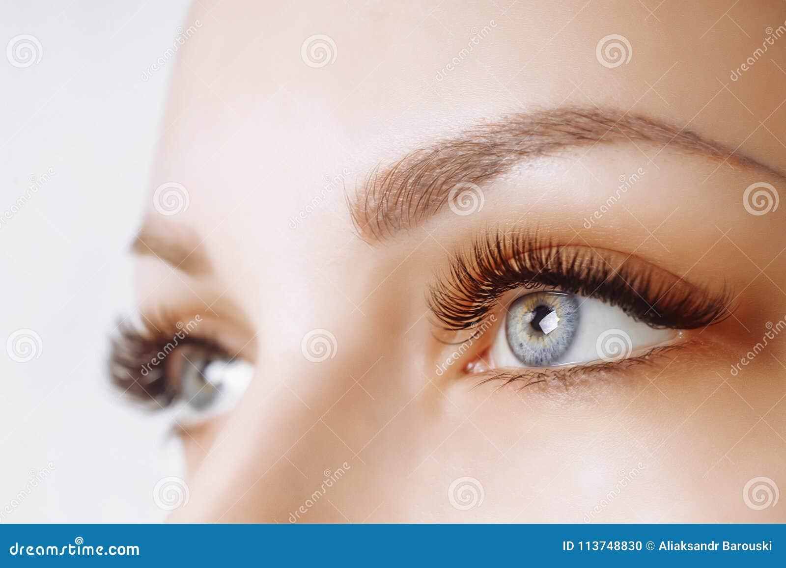 De Procedure van de wimperuitbreiding Het oog van de vrouw met lange wimpers Sluit omhoog, selectieve nadruk