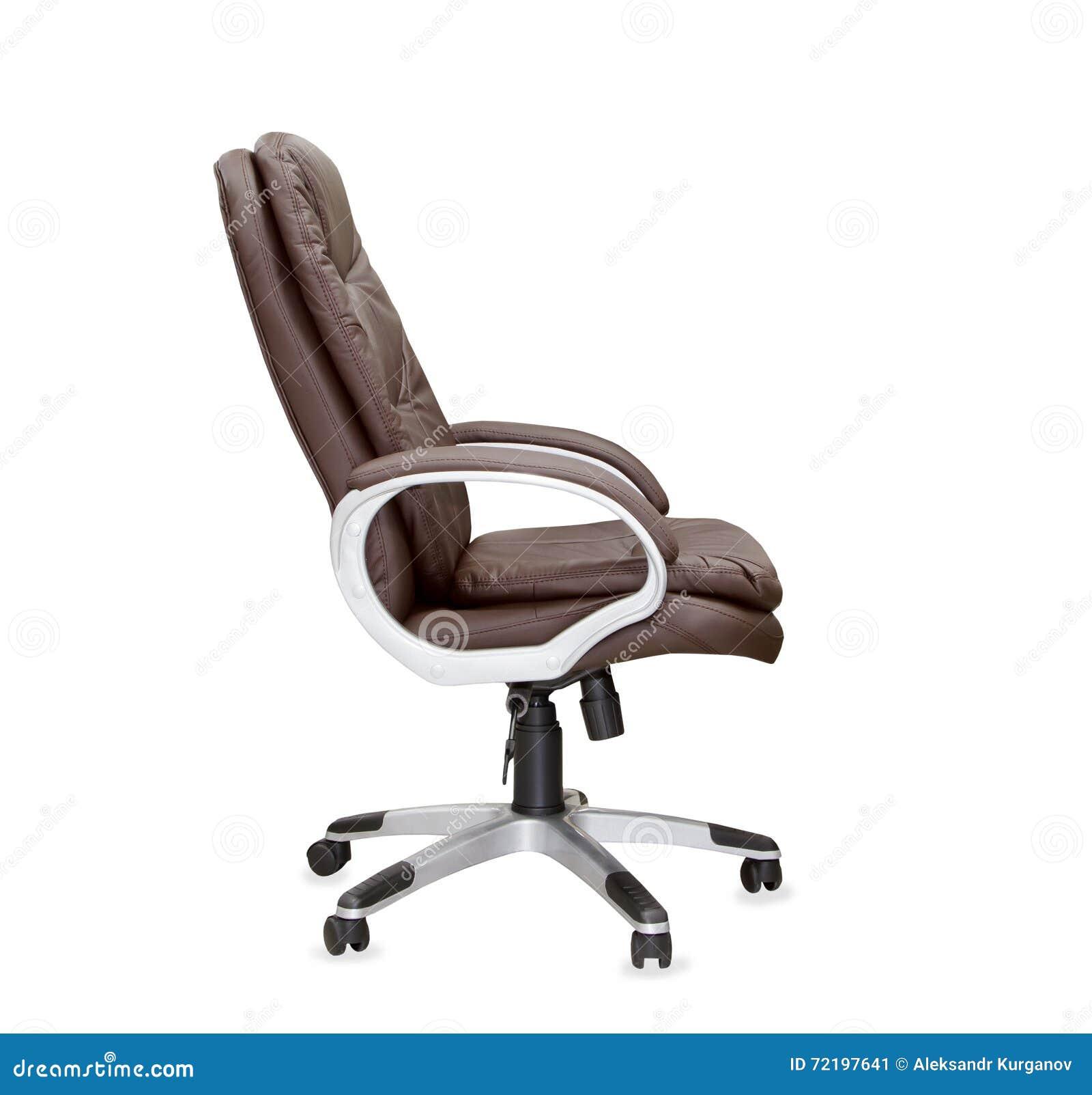 Bureaustoel Bruin Leer.De Profielmening Van Bureaustoel Van Bruin Leer Stock Afbeelding