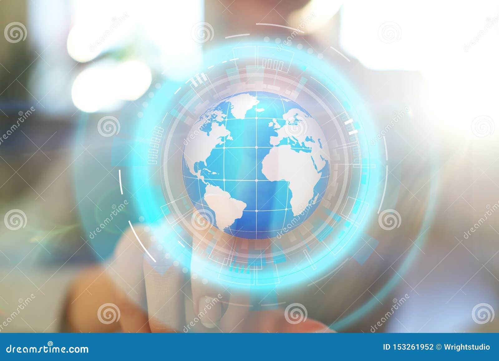 De projectie van het aardehologram op het virtuele scherm Gemengde media, Globale mededeling en internationaal bedrijfsconcept
