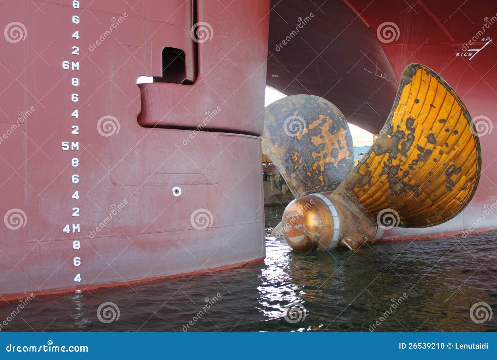 De propeller van de boot