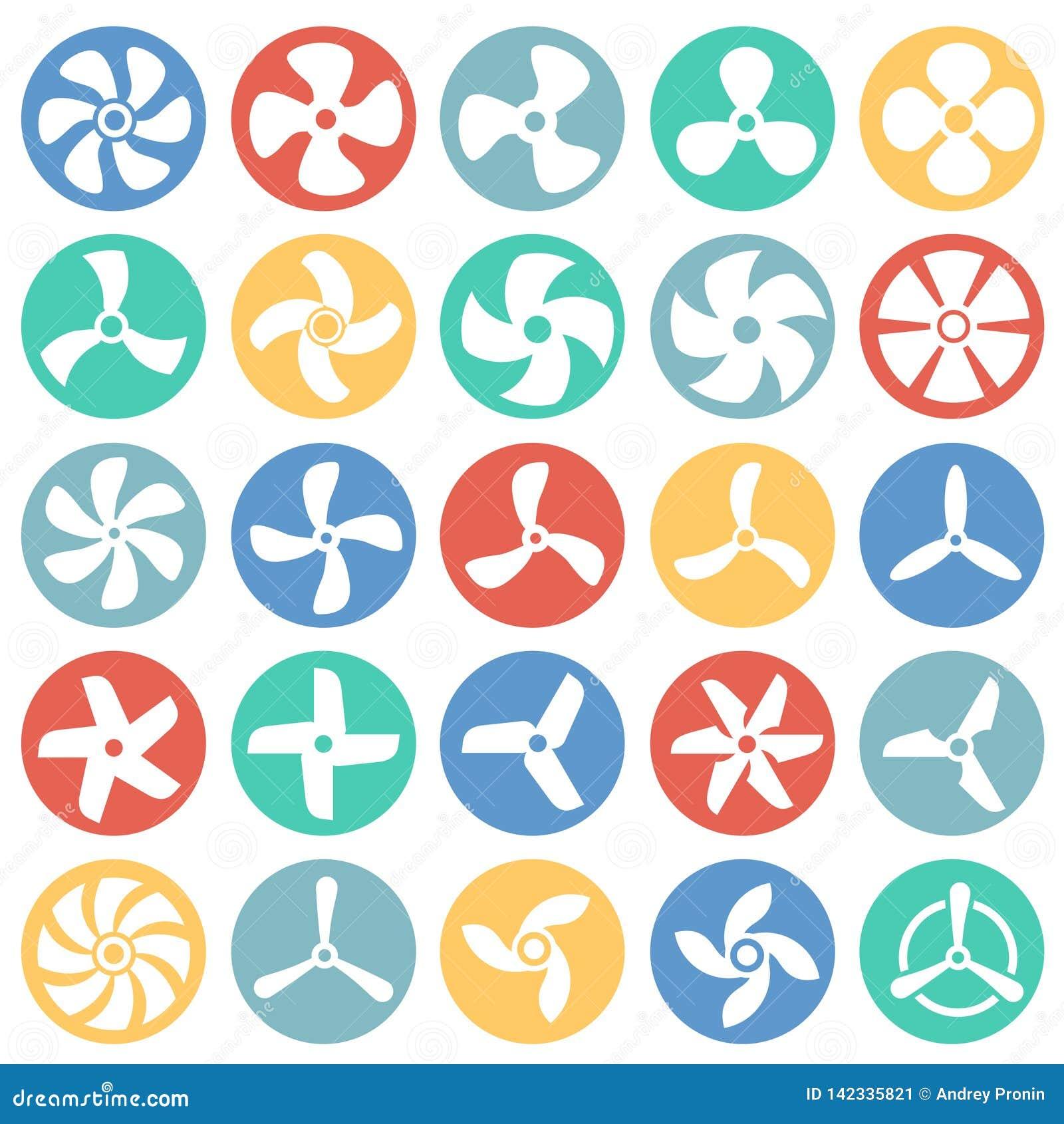 De propellerpictogrammen die op kleur worden geplaatst omcirkelt witte achtergrond voor grafisch en Webontwerp Eenvoudig vectorte