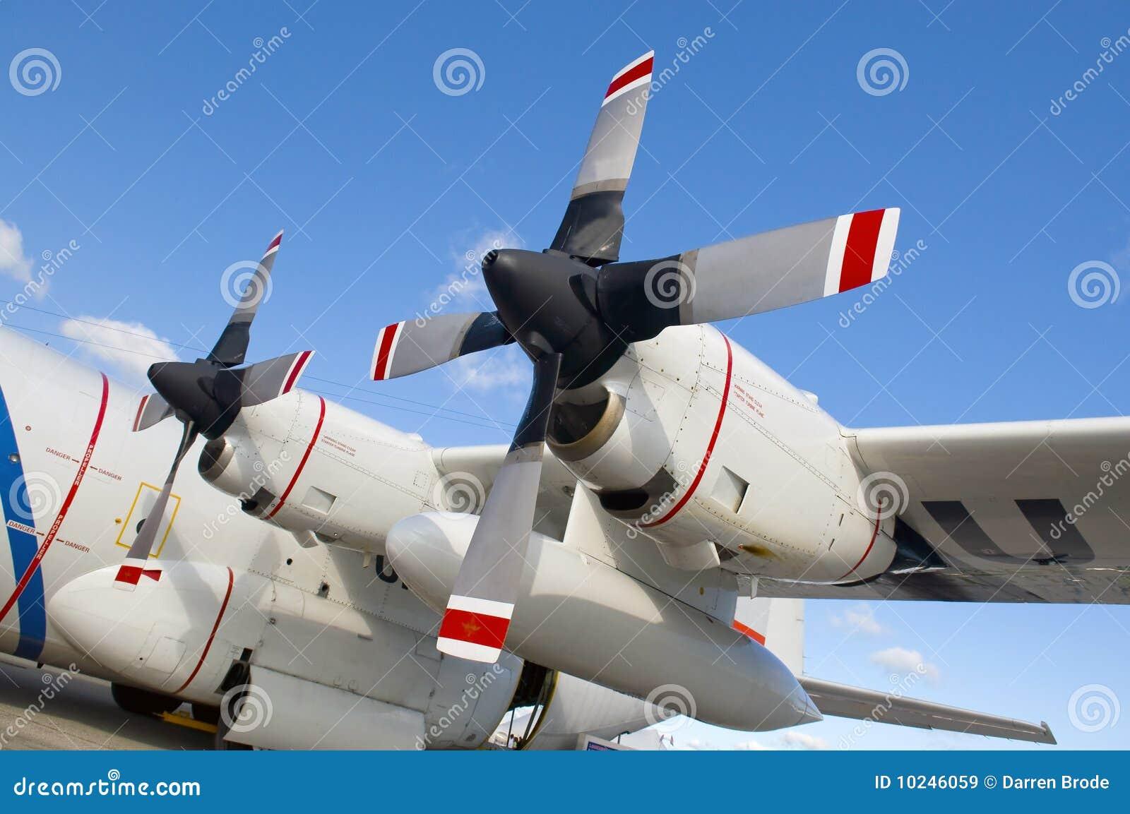 de propellers het vliegtuig stock afbeelding