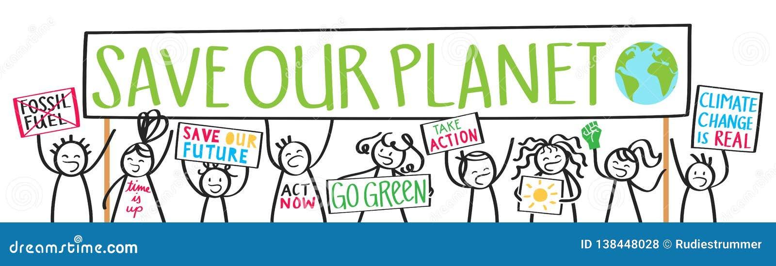De protesteerders van schooljonge geitjes, klimaatverandering, sparen onze planeet