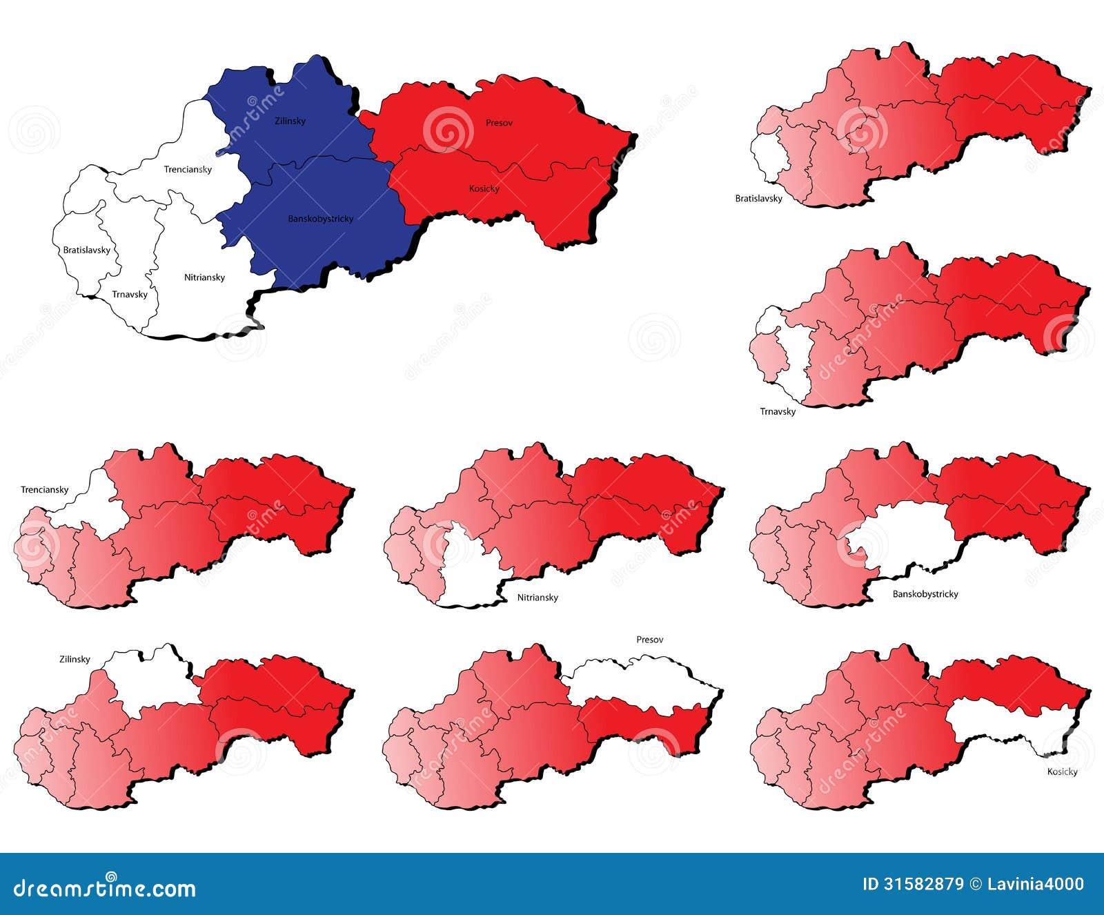 De provincieskaarten van Slowakije