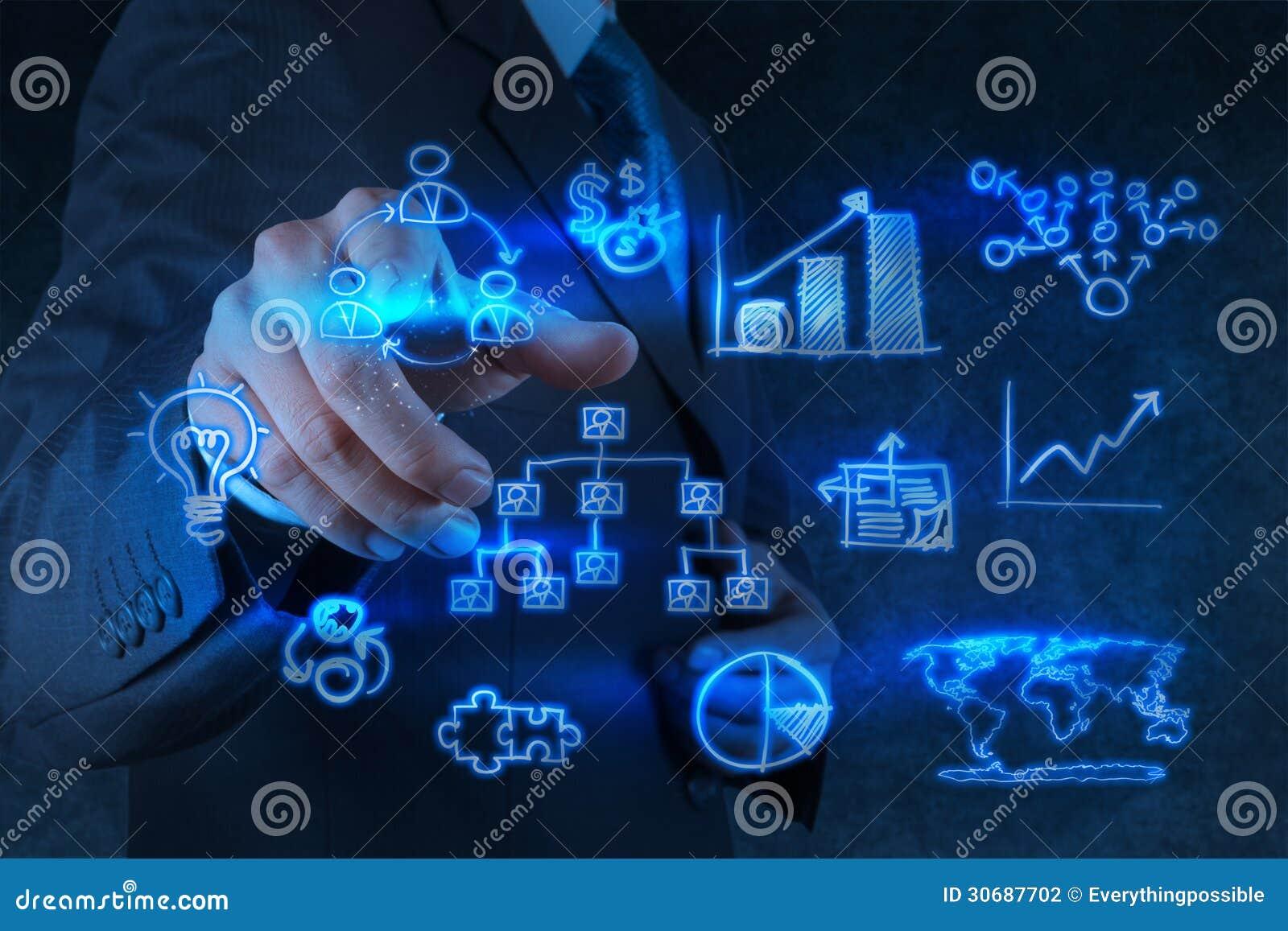 De punten van de zakenmanhand aan bedrijfsstrategie