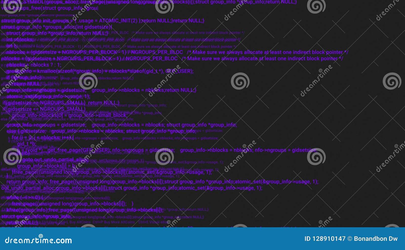 De purpere animatie van het de hakkerconcept van de het schermcodage met glitch Programmeringscode het typen fout