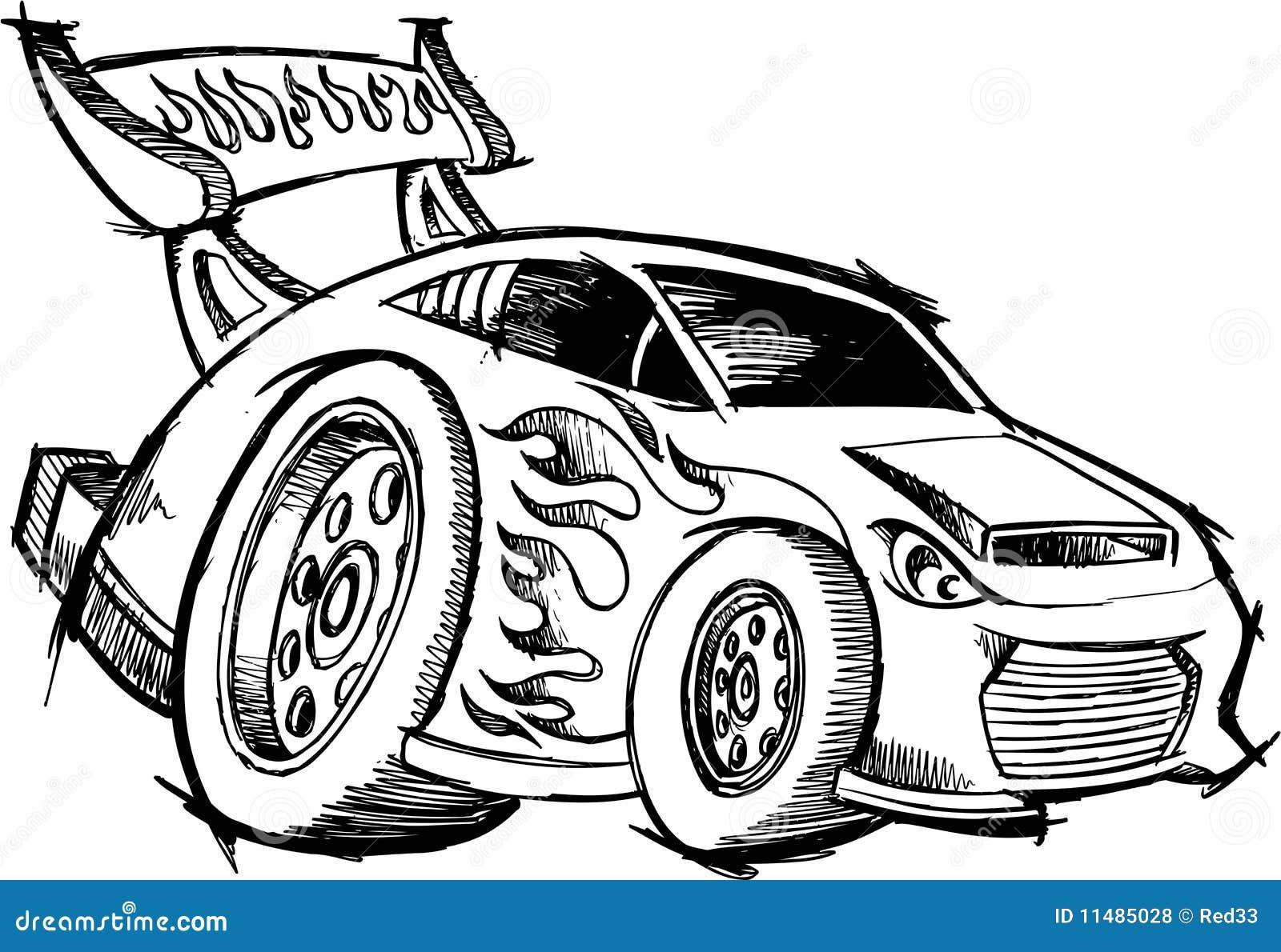 de raceauto van de heetstaaf van de krabbel vector