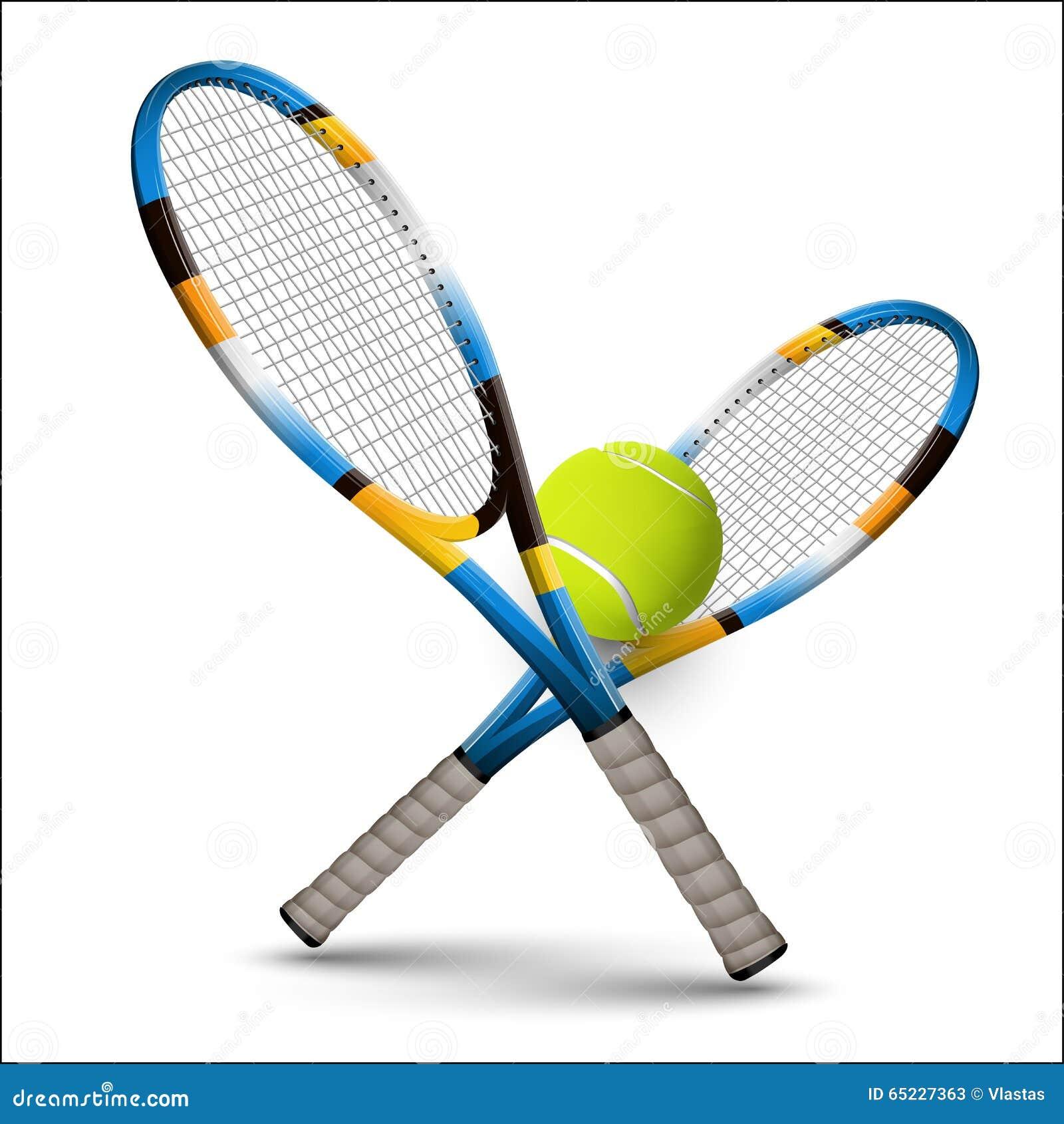 De rackets en de bal van tennissymbolen op witte achtergrond vector illustratie afbeelding - Sterke witte werpen en de bal ...