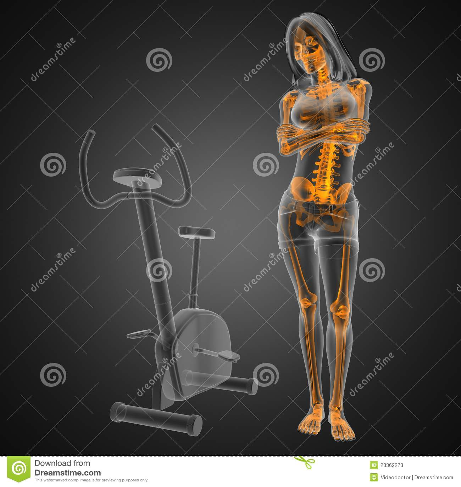 De radiografieaftasten van de vrouw in gymnastiekruimte