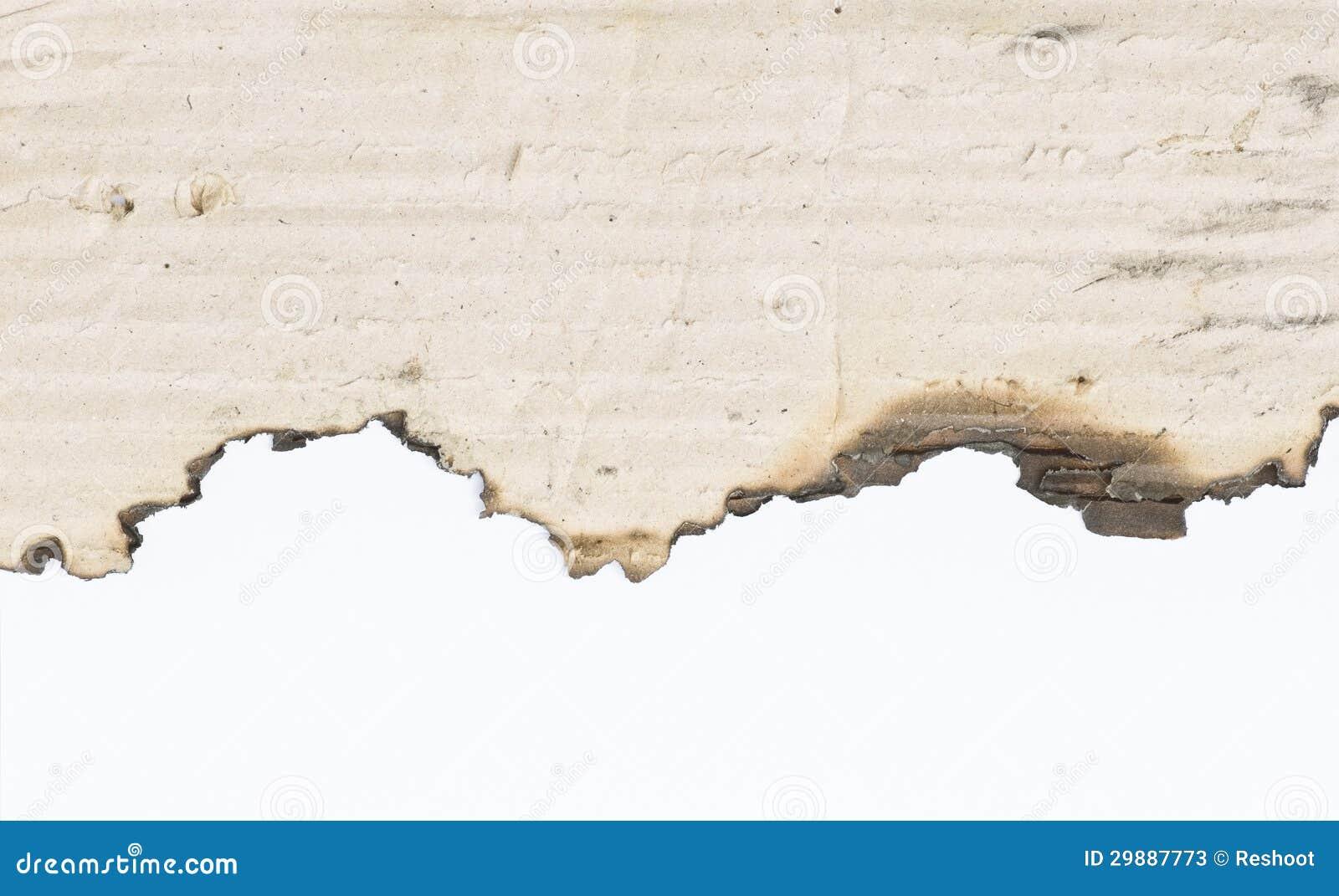 De rand van de brandwond van document