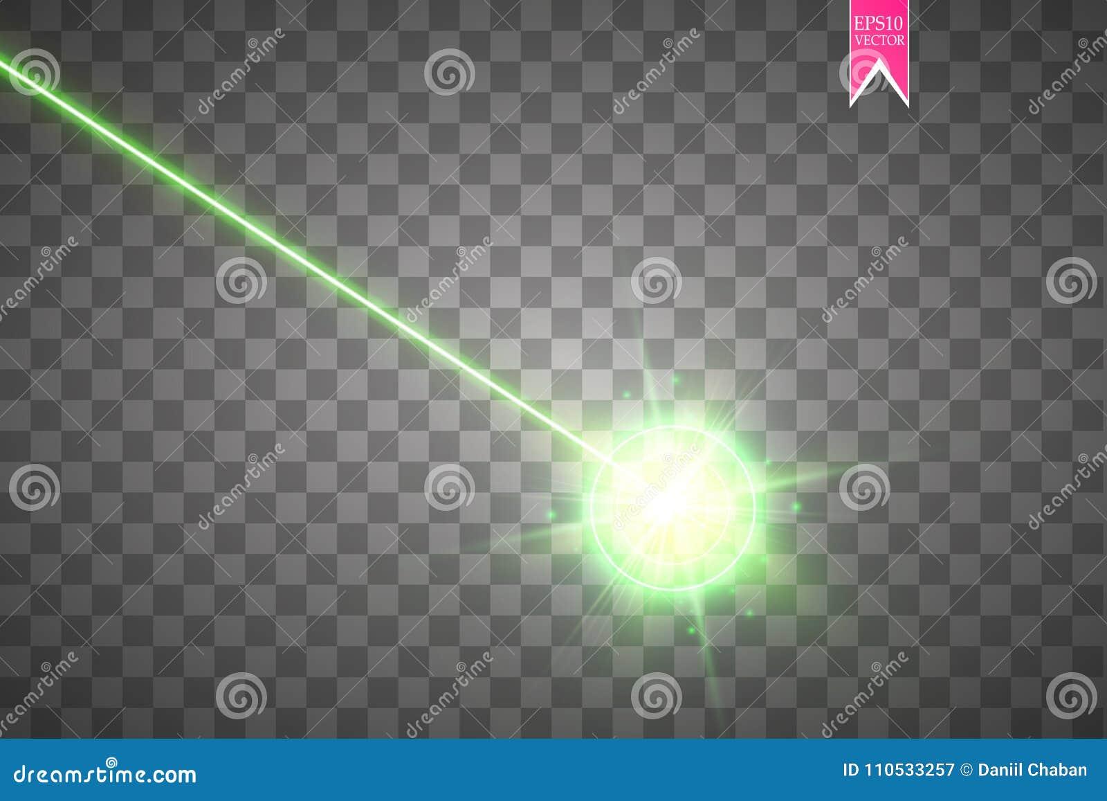 De rayo láser verde abstracto Haz de la seguridad del laser aislado en fondo transparente Rayo ligero con el flash de la blanco d