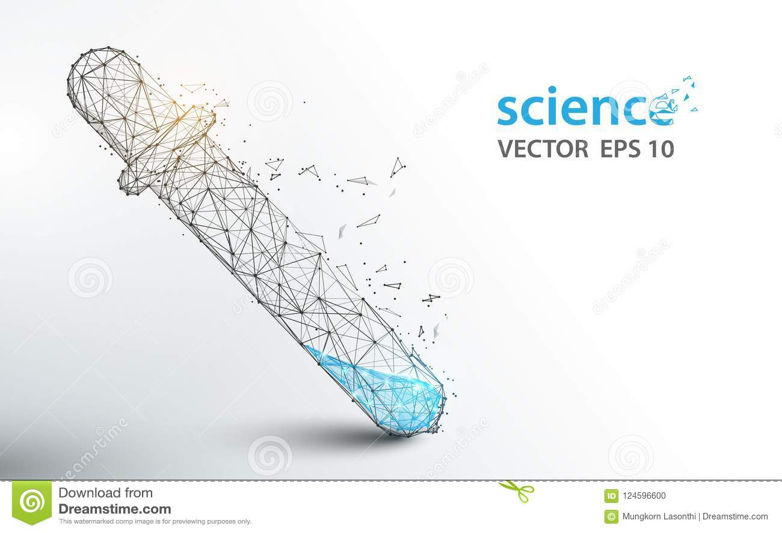 De reageerbuizen van het wetenschapslaboratorium vormen lijnen en het ontwerp van de deeltjesstijl