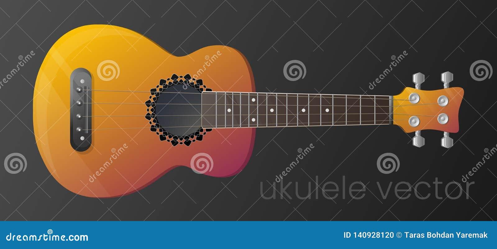 De realistische die gitaar van de gradiëntukelele op donkere achtergrond wordt geïsoleerd Het meest gedetailleerd Vector, scalabl