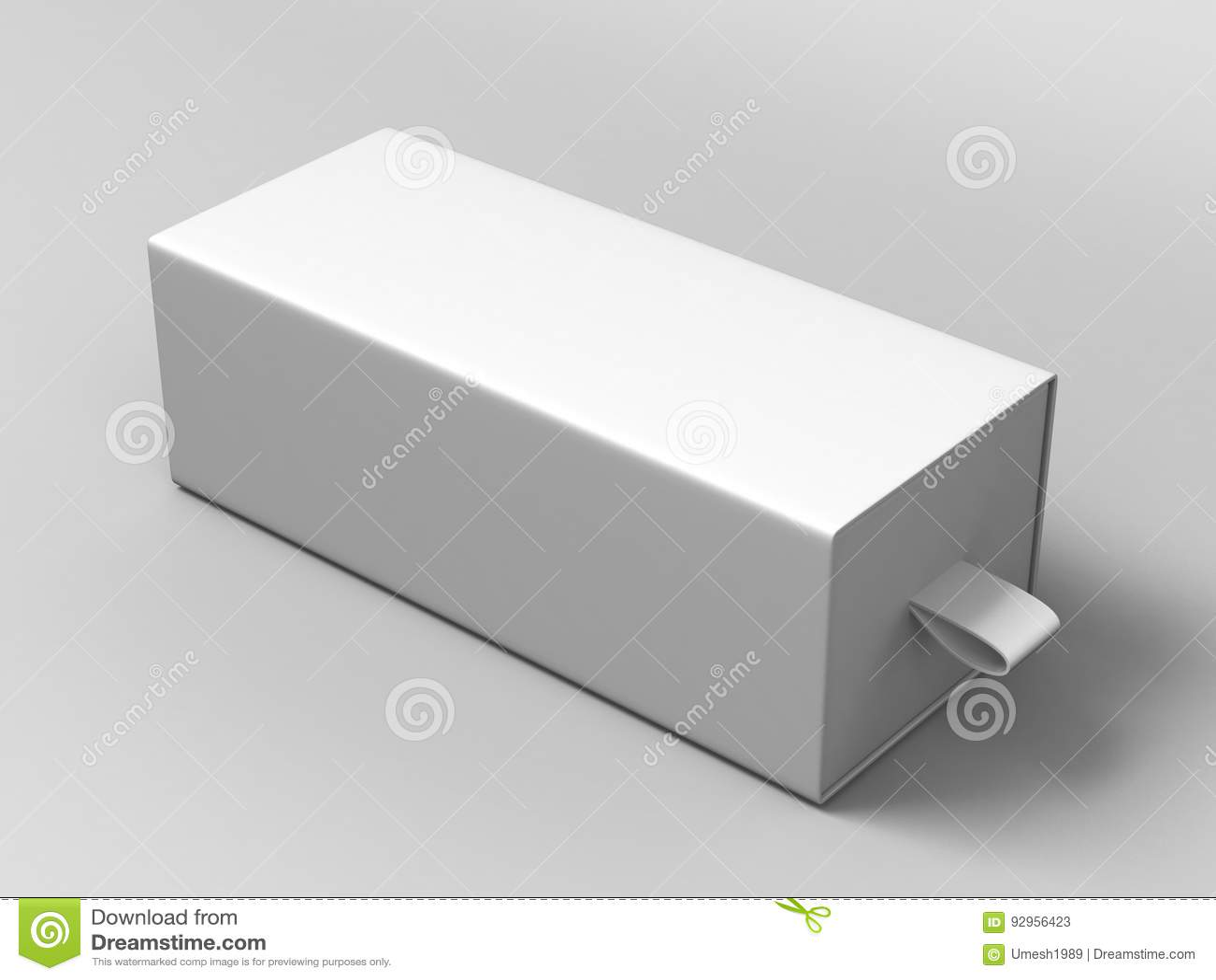 De realistische Glijdende Doos van het Pakket Lege witte Karton op grijze achtergrond Voor kleine punten, gelijken, en andere din