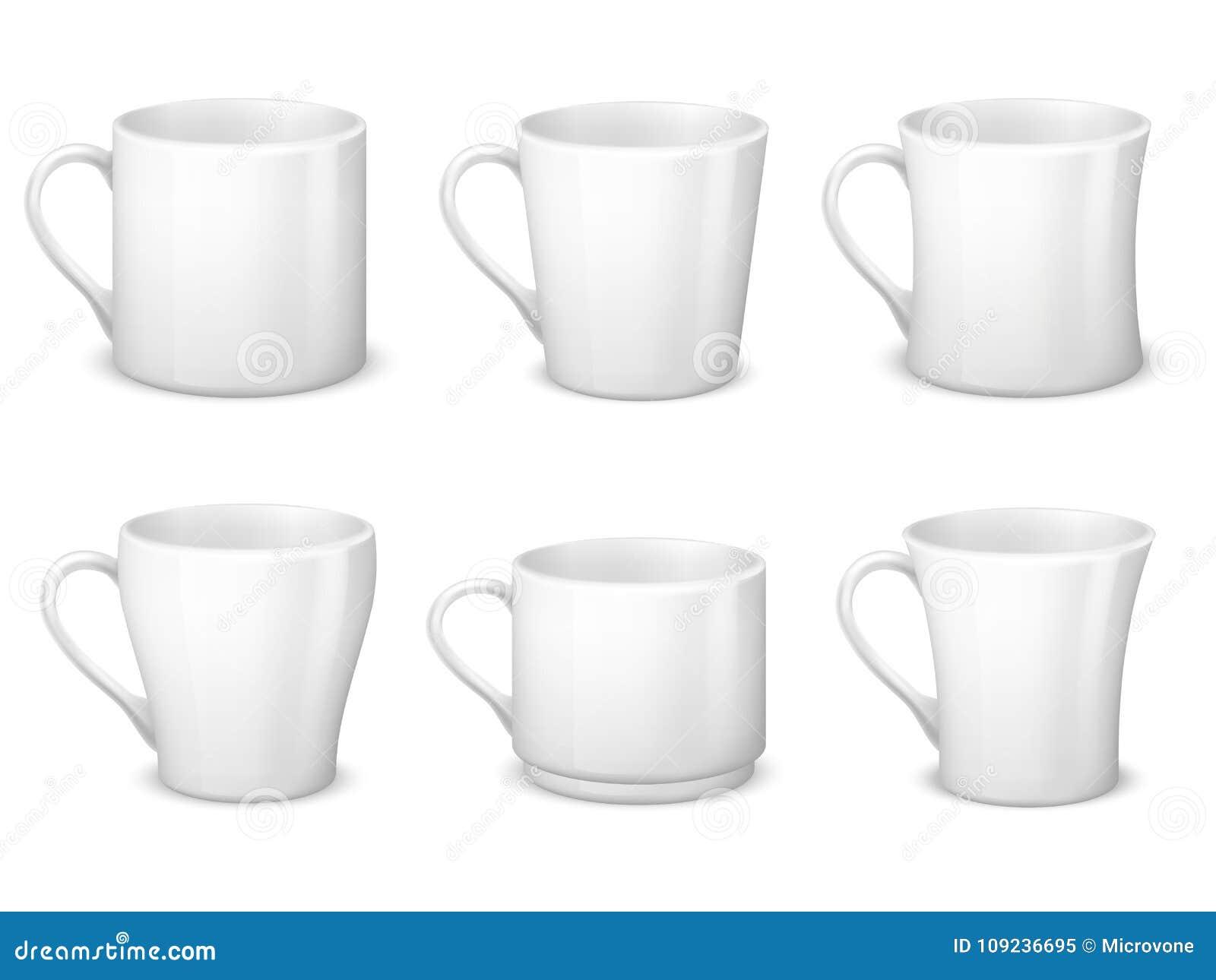 De realistische lege witte koffie overvalt met handvat en het porselein vormt vector geïsoleerd malplaatje tot een kom