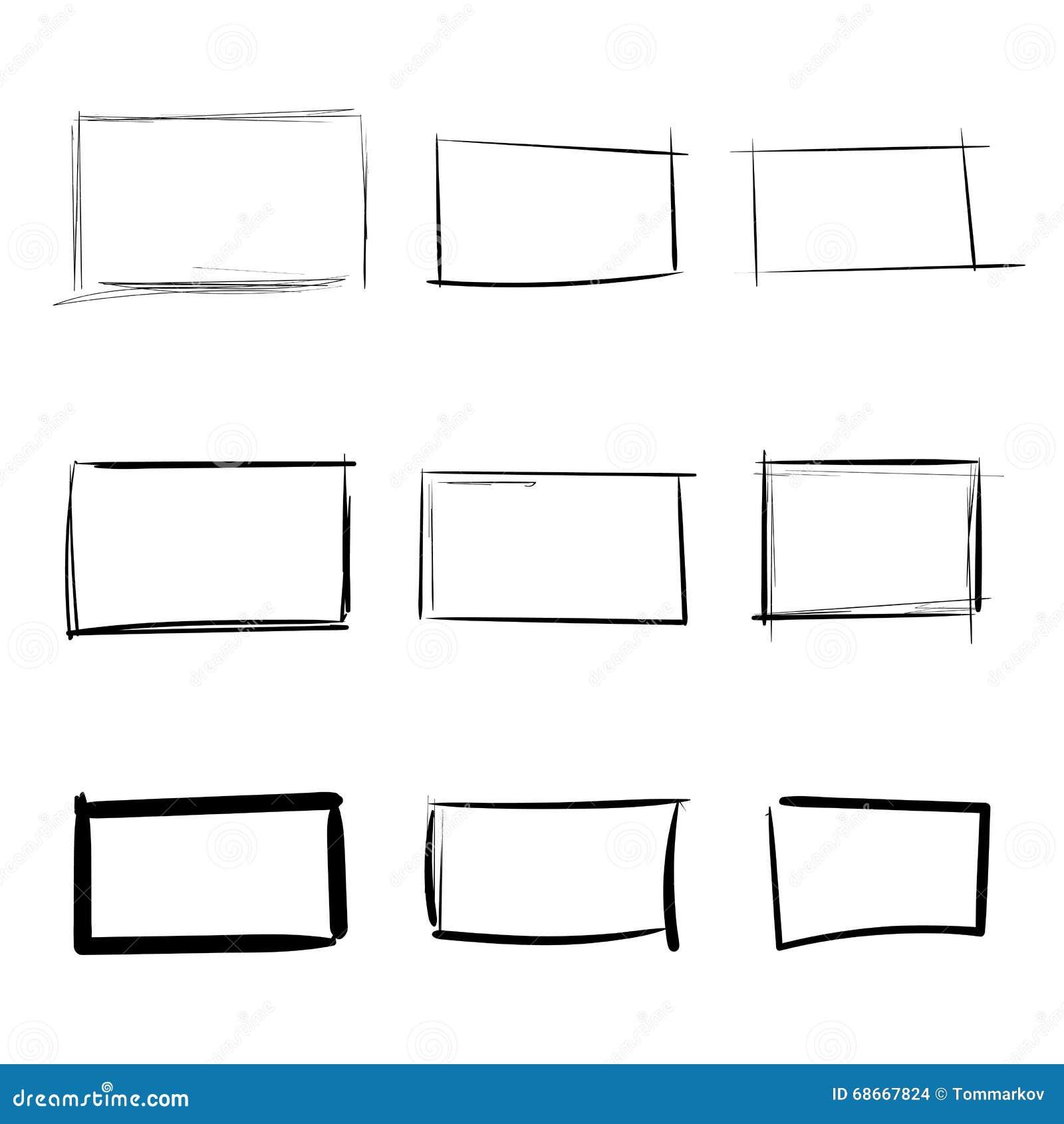 De rechthoekmalplaatjes overhandigen getrokken eenvoudige reeks