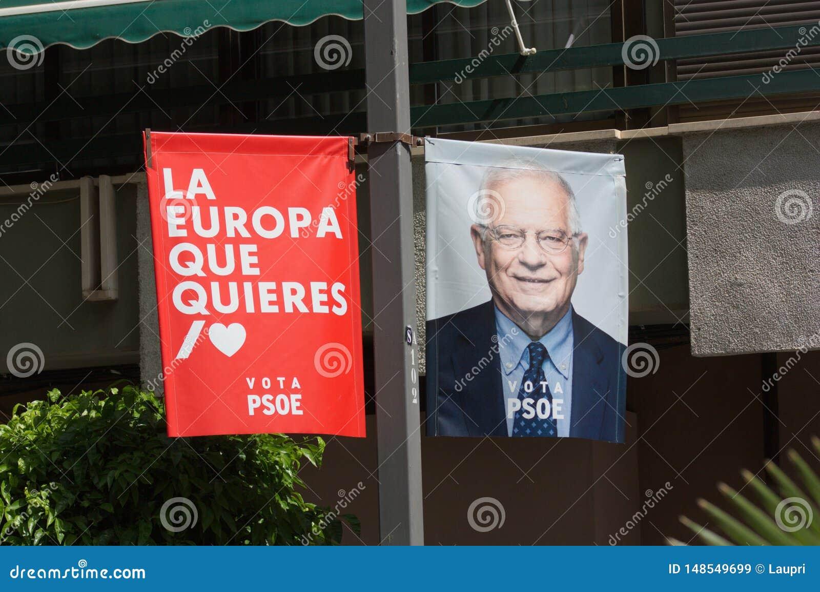 De reclame van affiche van de Spaanse Socialistische Partij voor de Europese verkiezingen van 26 Mei, 2019
