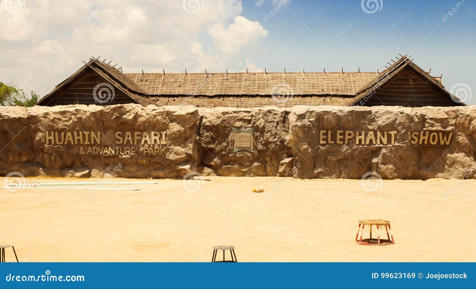 De redactie-olifant toont bij HuaHin-Safari, Thailand