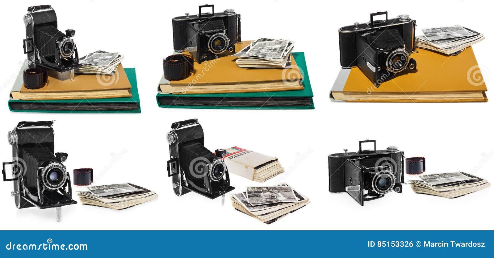 De reeks foto s, antiquiteit, zwarte, zakcamera, oude fotoalbums, retro zwart-witte foto s, historische negatief voor kwam