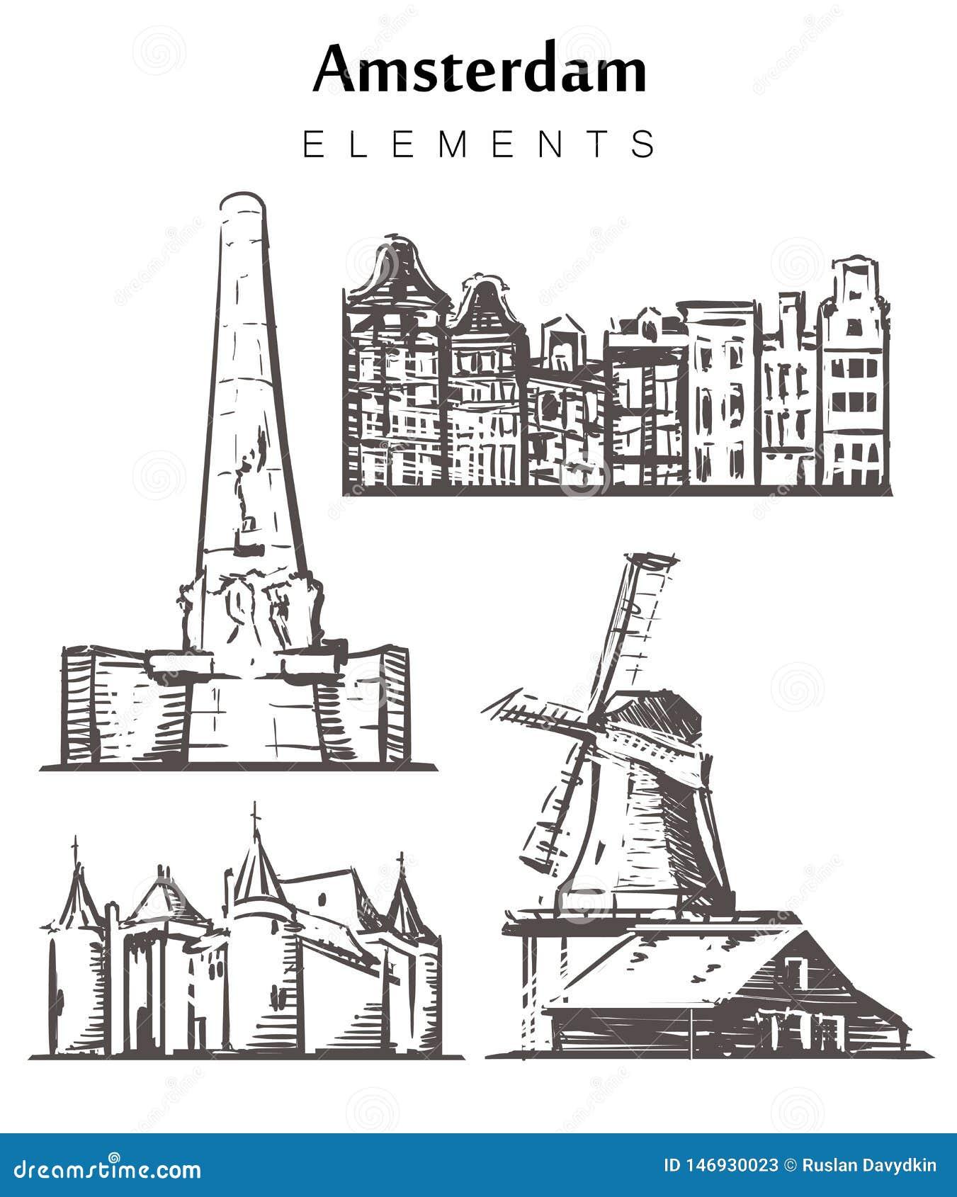 De reeks hand-drawn de gebouwenelementen van Amsterdam schetst vectorillustratie