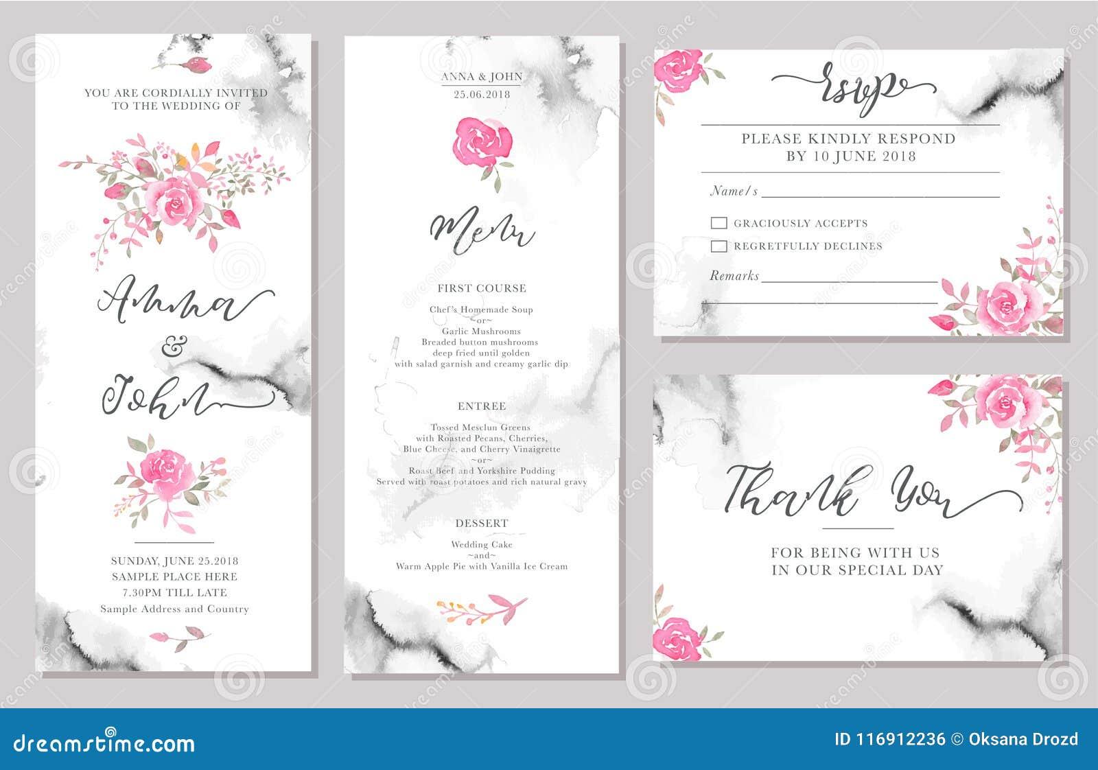 De reeks de kaartmalplaatjes van de huwelijksuitnodiging met waterverf nam bloemen toe