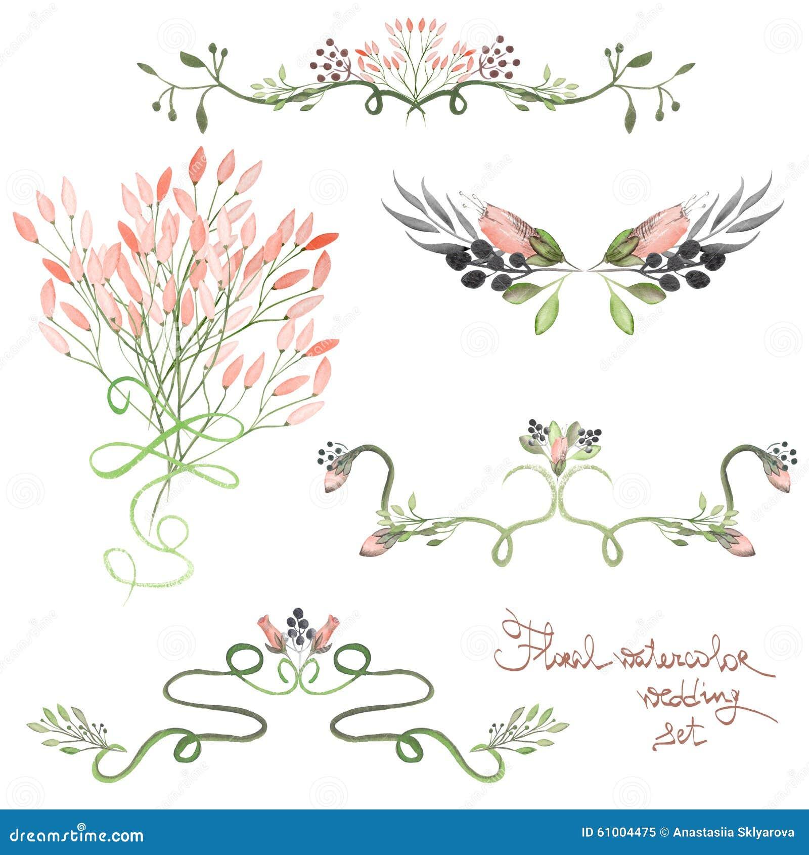 De reeks met kadergrenzen, bloemen decoratieve ornamenten met waterverf bloeit, gaat en vertakt zich voor huwelijk weg