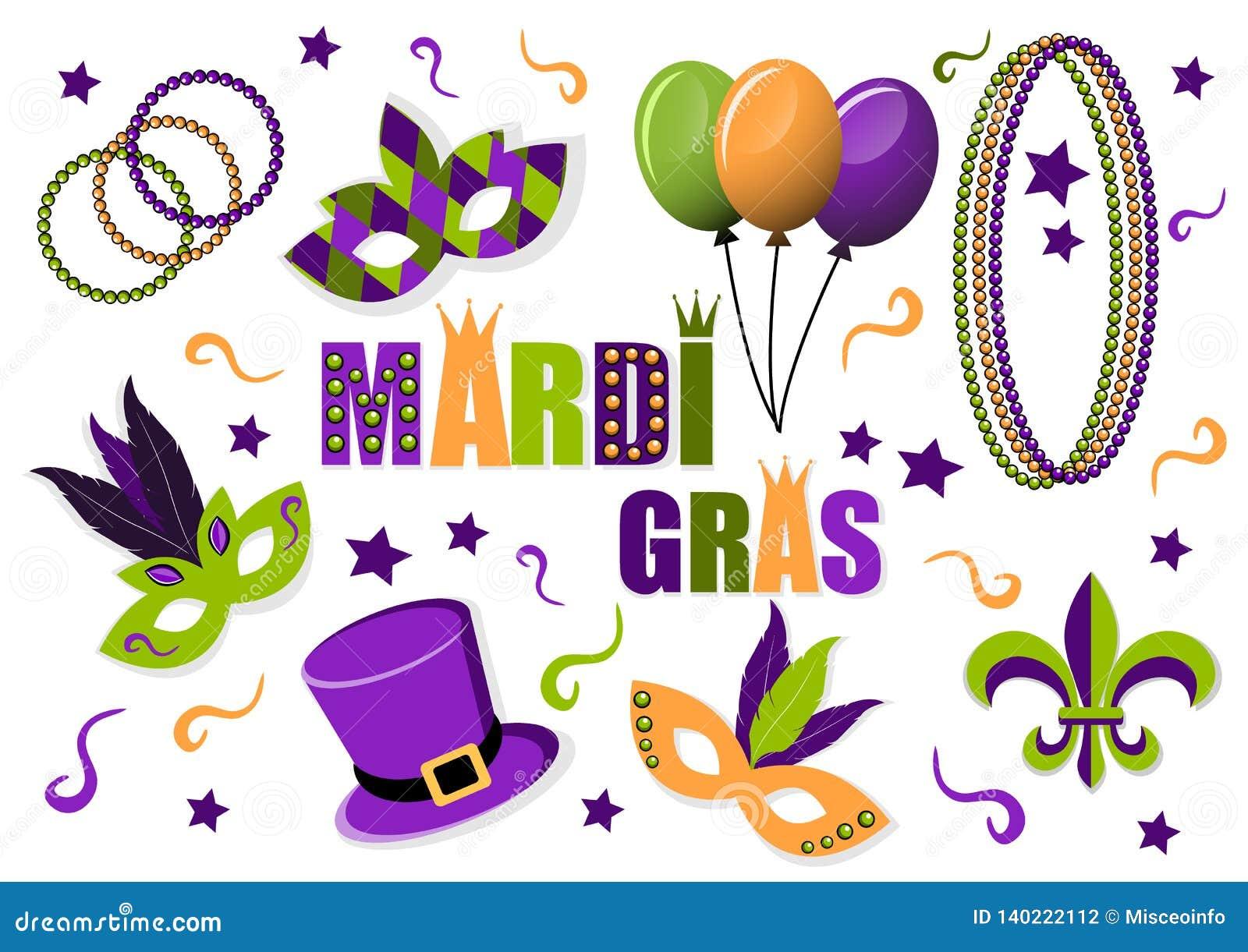 De reeks van Carnaval Mardi Gras vectorpictogrammen maskers Hoed ballons parels Fleur DE lis Mardi Gras Carnaval Vette Dinsdag