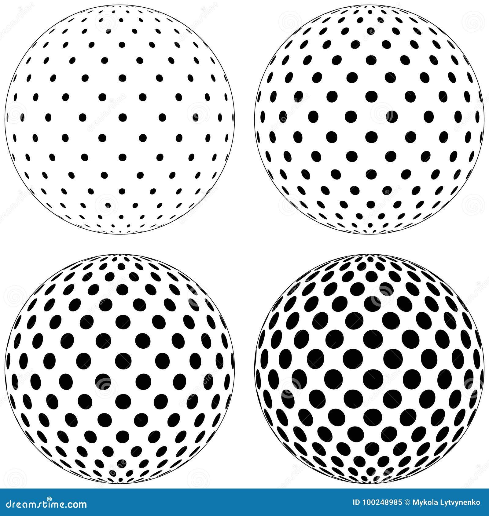 De reeks van 3D bolbal, punten omcirkelt patroon op de oppervlakte van het gebied, vectorstippatroon op de oppervlakte van de bal