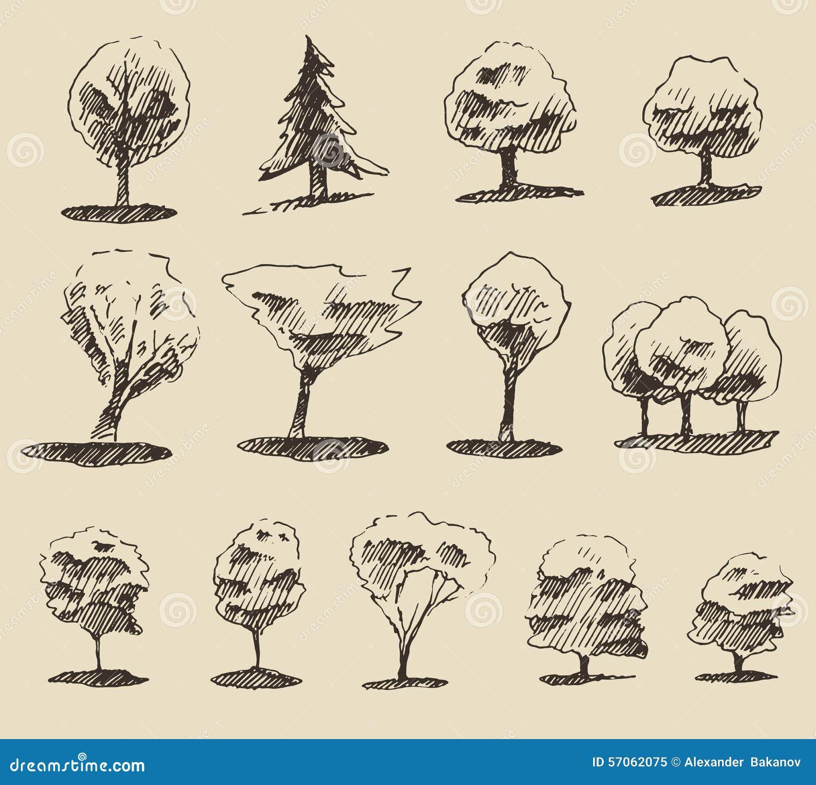 De reeks van de bomenschets, uitstekende vectorstijl, getrokken hand