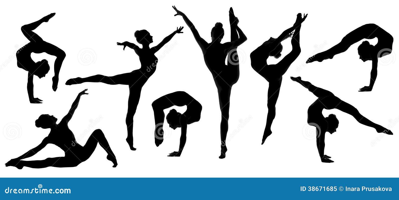 De reeks van de de dansersballerina van de silhouetturner