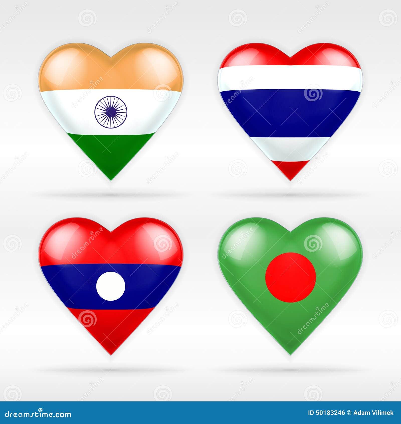 De reeks van de het hartvlag van India, van Thailand, van Laos en van Bangladesh Aziatische staten