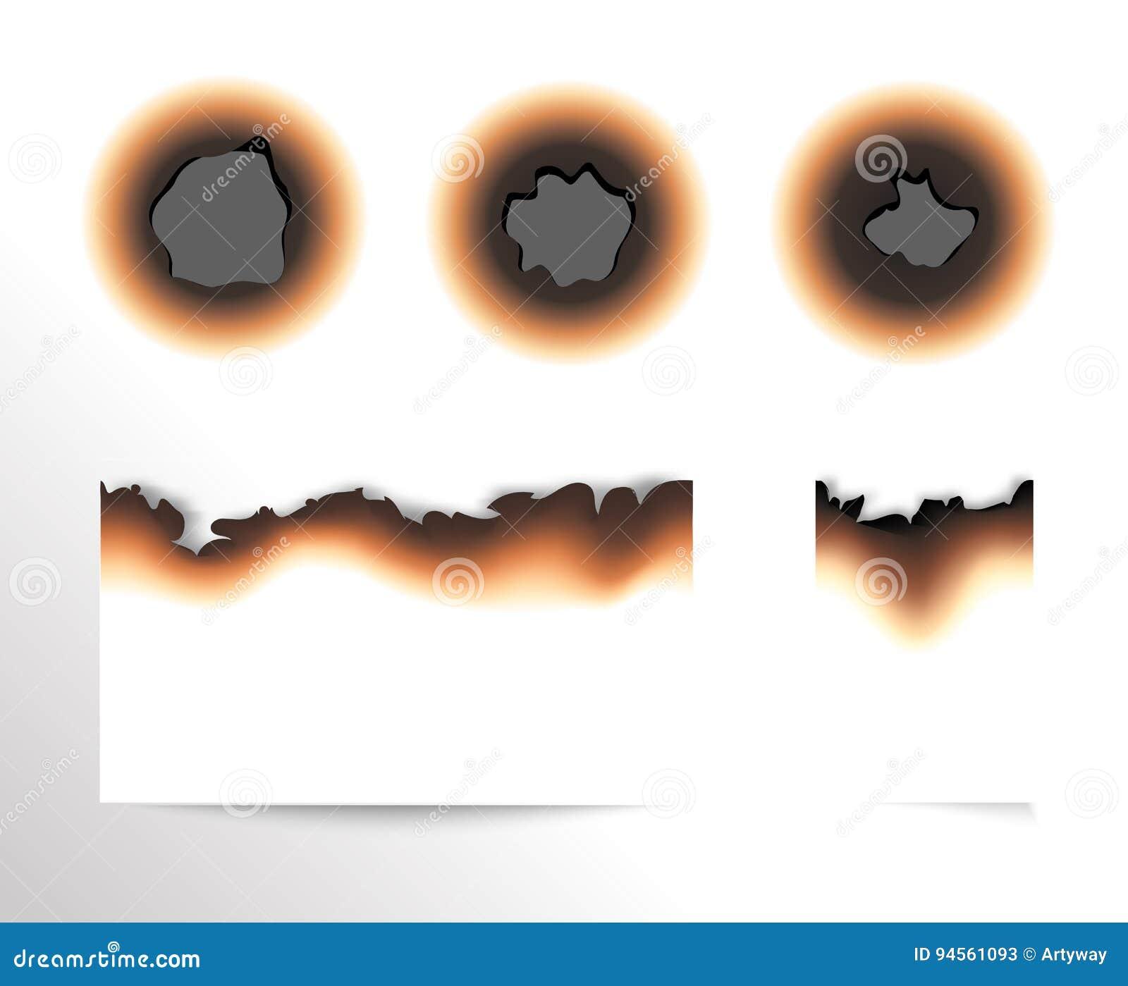 De reeks van geschroeid stuk document en gebrande gaten op witte achtergrond isoleerde vectorillustratie