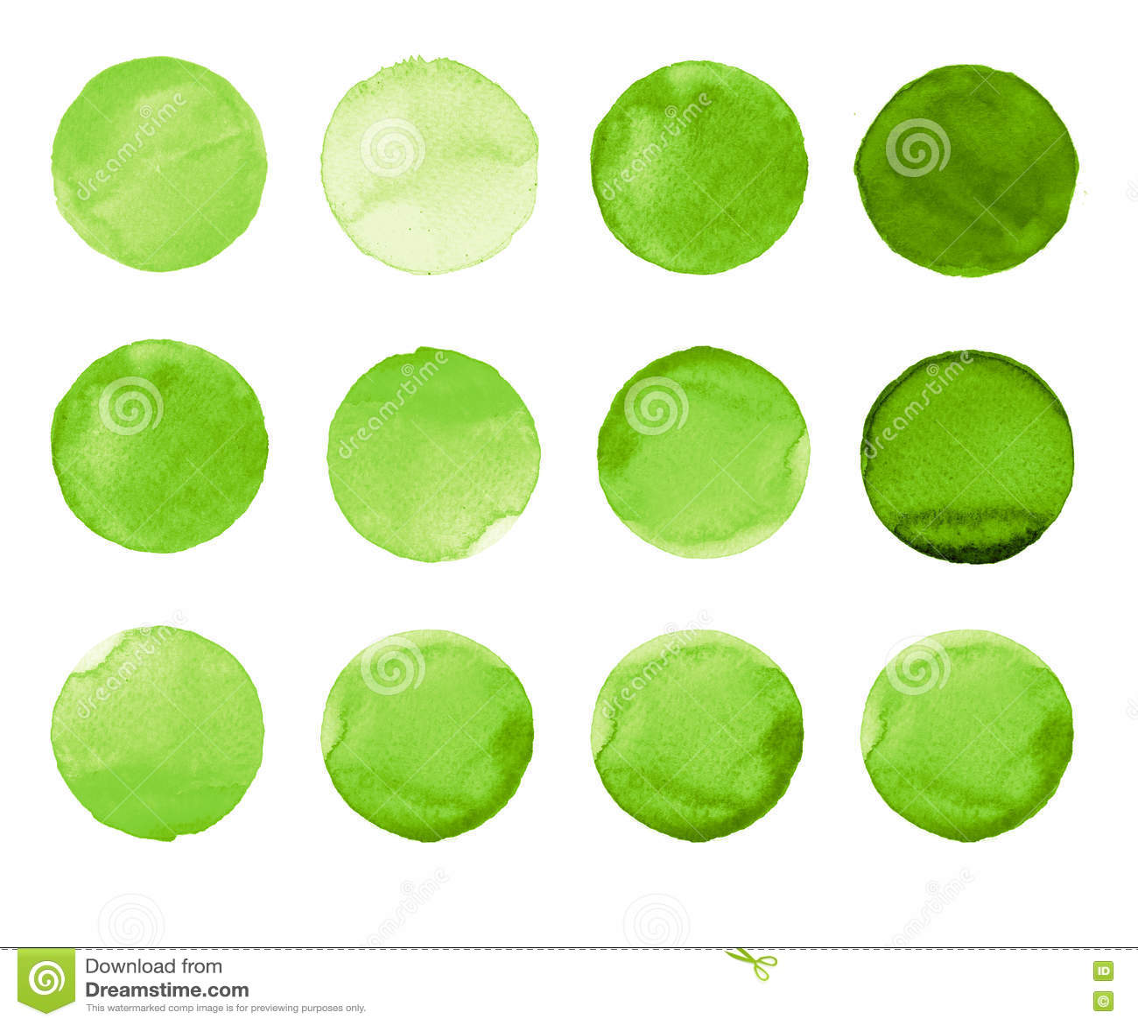 De reeks van groene die waterverfhand schilderde cirkel op wit wordt geïsoleerd Illustratie voor artistiek ontwerp Ronde vlekken,