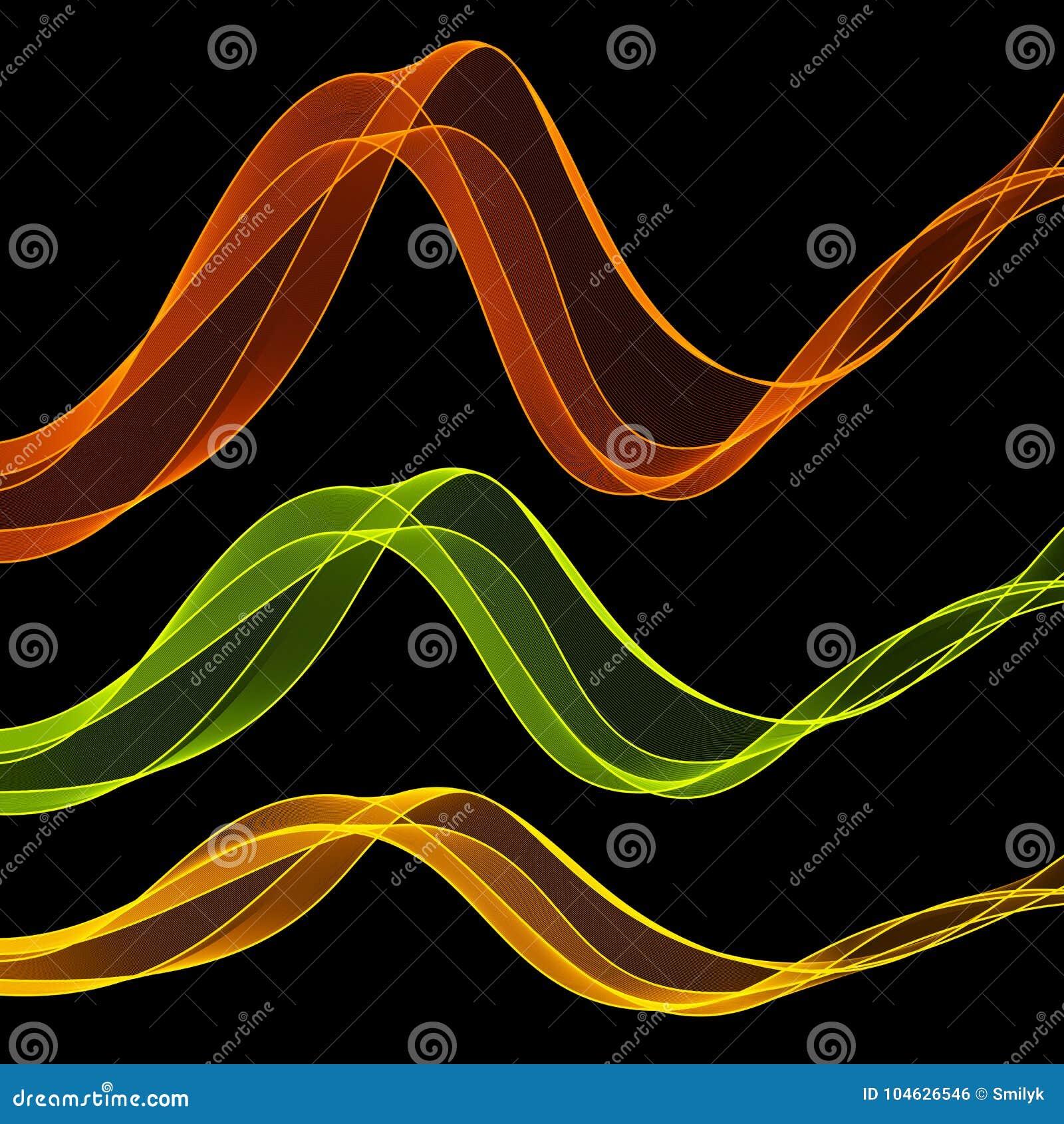 Download De Reeks Van Heldere Samenvatting Isoleerde Transparante Golflijnen Voor Dark Vector Illustratie - Illustratie bestaande uit dynamisch, stroom: 104626546