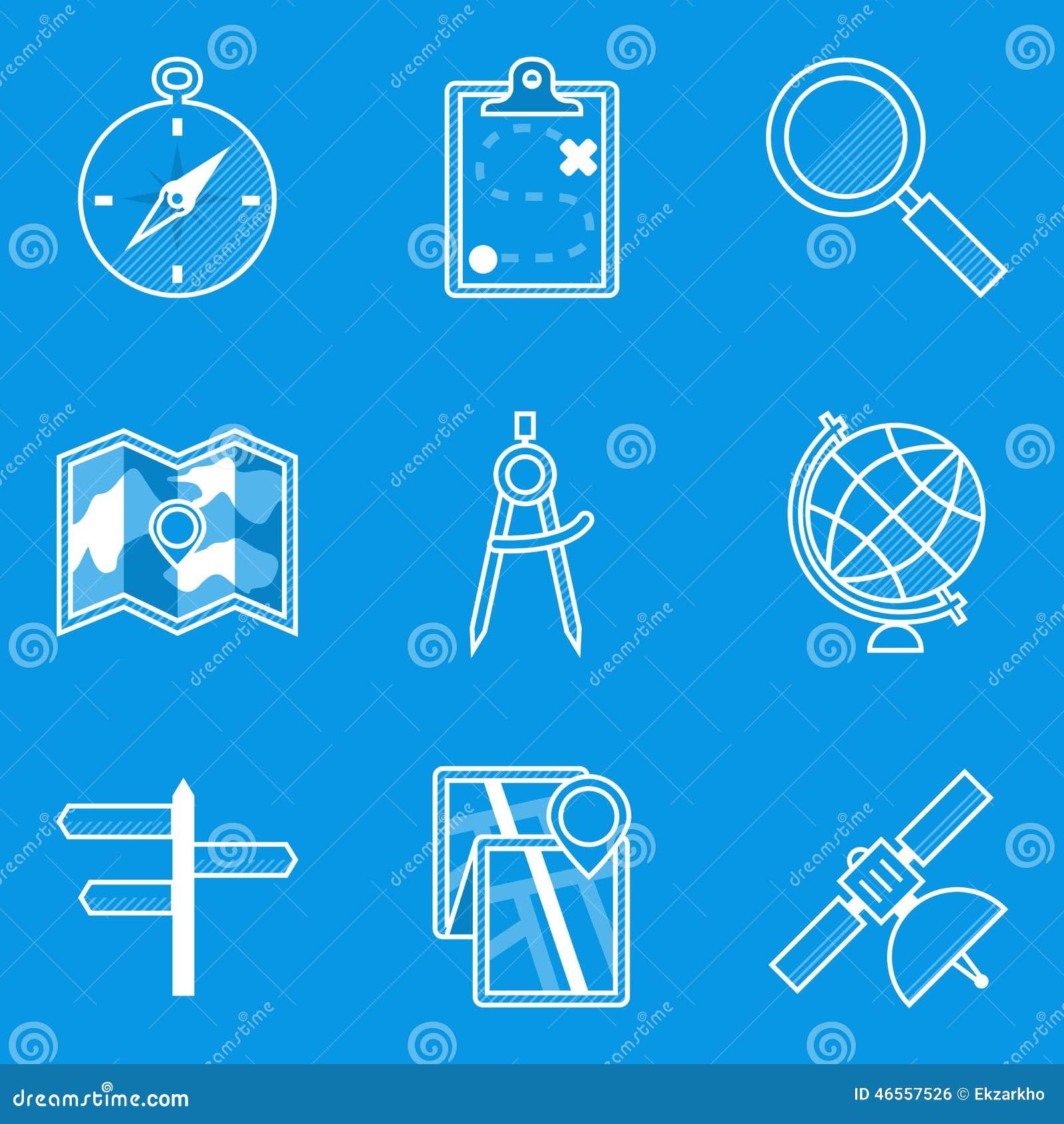 De reeks van het blauwdrukpictogram nearsighted