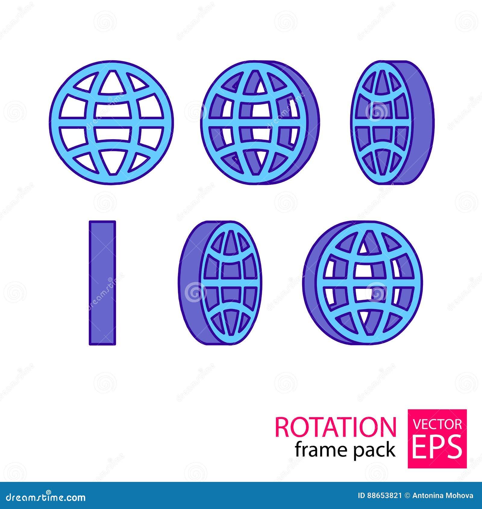 De reeks van het bol roterende pictogram kaders