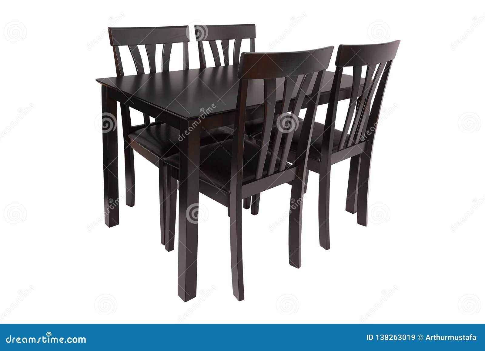 De reeks van het eetkamermeubilair lijst en vier stoelen Elegant die het dineren meubilair voor woonkamer of keuken, van donker b